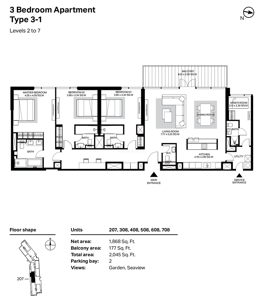 Building 4 3 Bedroom Type 3-1 Level 2 To 7 Size 2045    sq. ft.