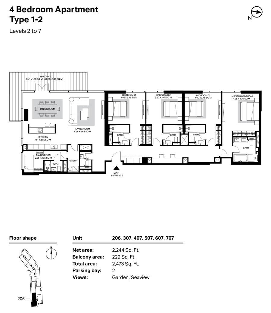 Building 4 - 4 Bedroom Type 1-2 Level 2 To 7 Size 2473    sq. ft.