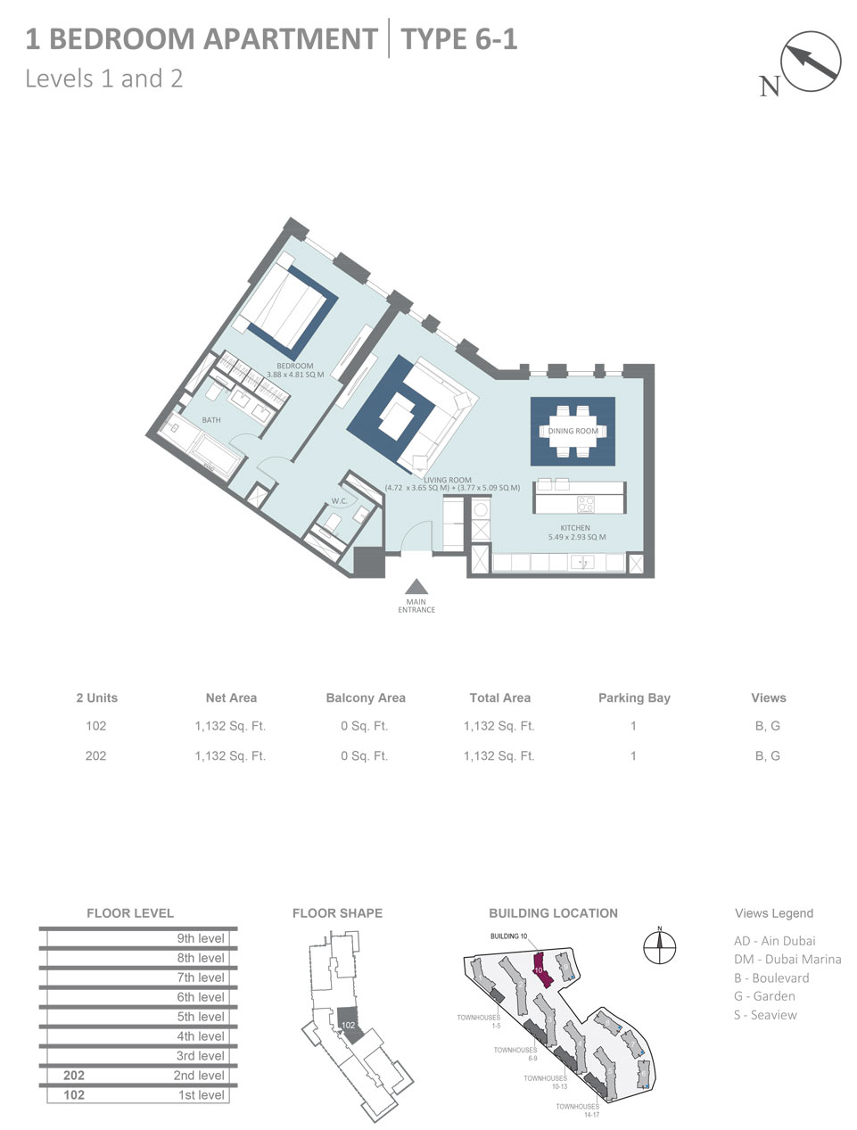 Building 10 -1 Bedroom Apartment Type 6, 1- Level 1 & 2 Size 1132  sq. ft.