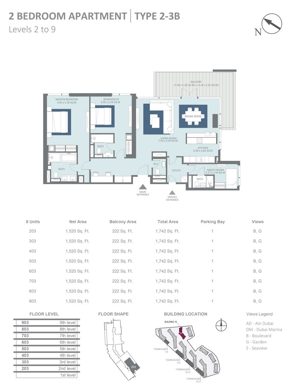 Building 10 - 2 Bedroom Apartment Type 2, 3B, Level 2 - 9, Size 1742  sq. ft.