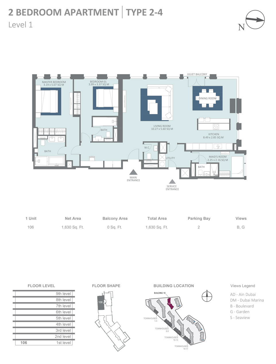 Building 10 - 2 Bedroom Apartment Type 2, 4, Level 1, Size 1630  sq. ft.
