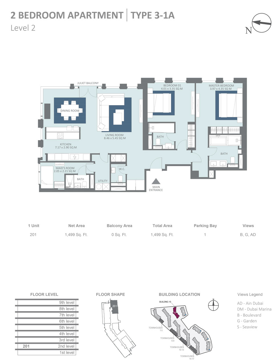 Building 10 - 2 Bedroom Apartment Type 3, 1A, Level 2, Size 1499  sq. ft.