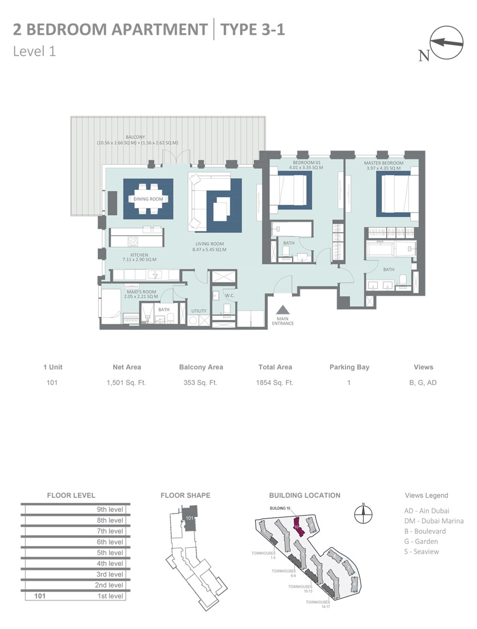 Building 10 - 2 Bedroom Apartment Type 3, 1, Level 1, Size 1854  sq. ft.