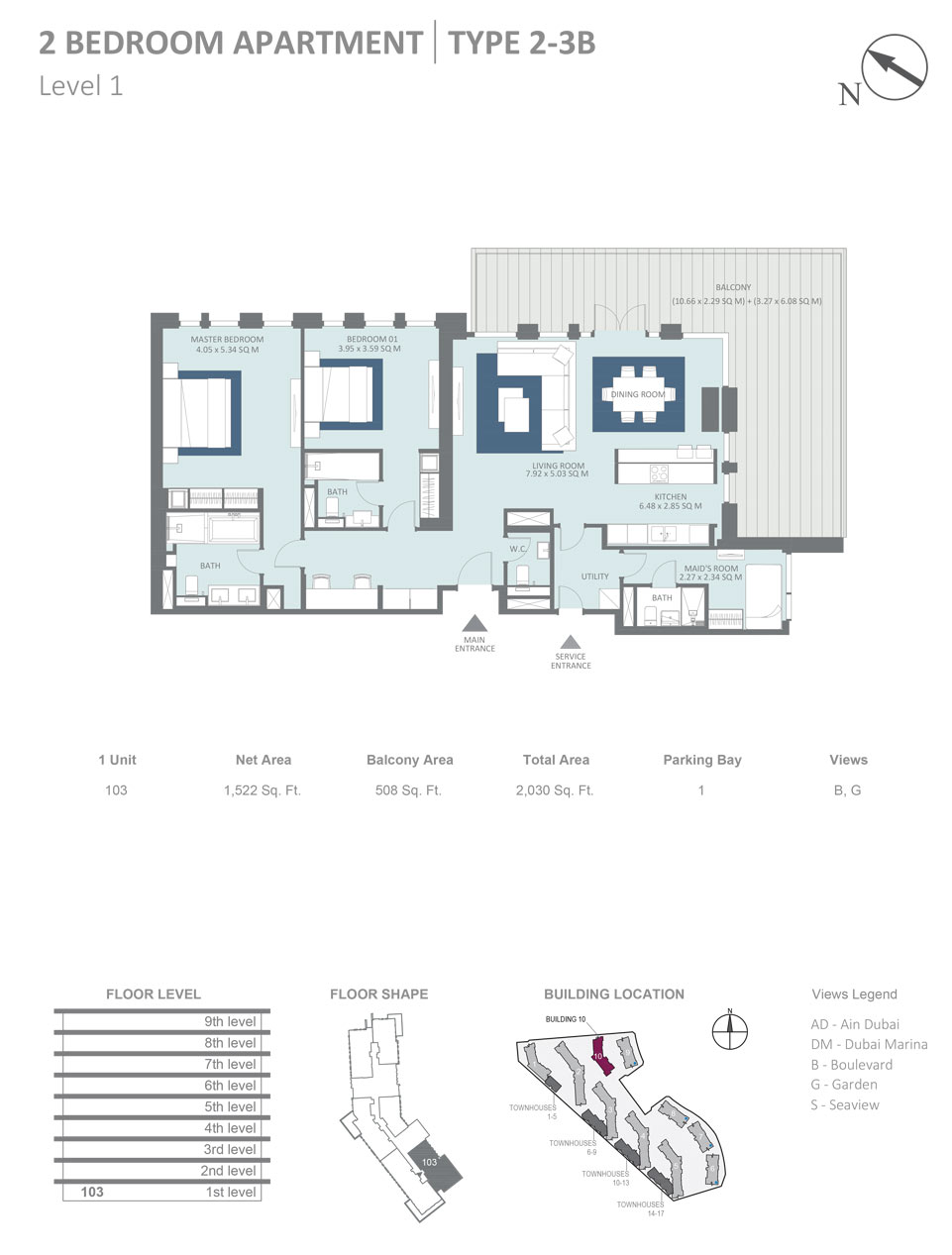 Building 10 - 2 Bedroom Apartment Type 3B, Level 1, Size 2030  sq. ft.