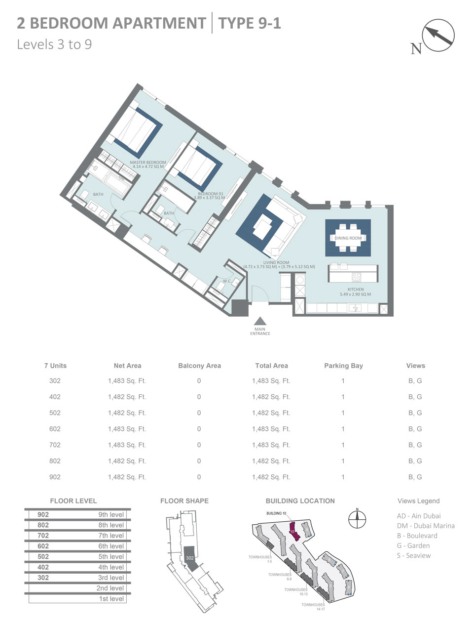 Building 10 - 2 Bedroom Apartment Type 9 - 1, Level 3 - 9, Size 1483  sq. ft.