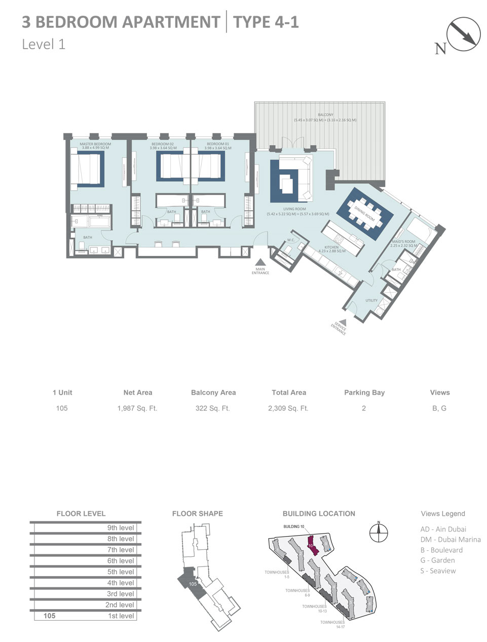 Building 10 - 3 Bedroom Apartment Type 4 - 1, Level 1, Size 2309  sq. ft.