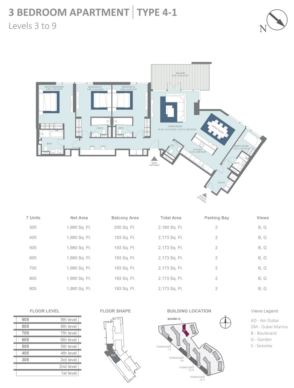 Building 10 - 3 Bedroom Apartment Type 4 - 1, Level 3, Size 2173  sq. ft.