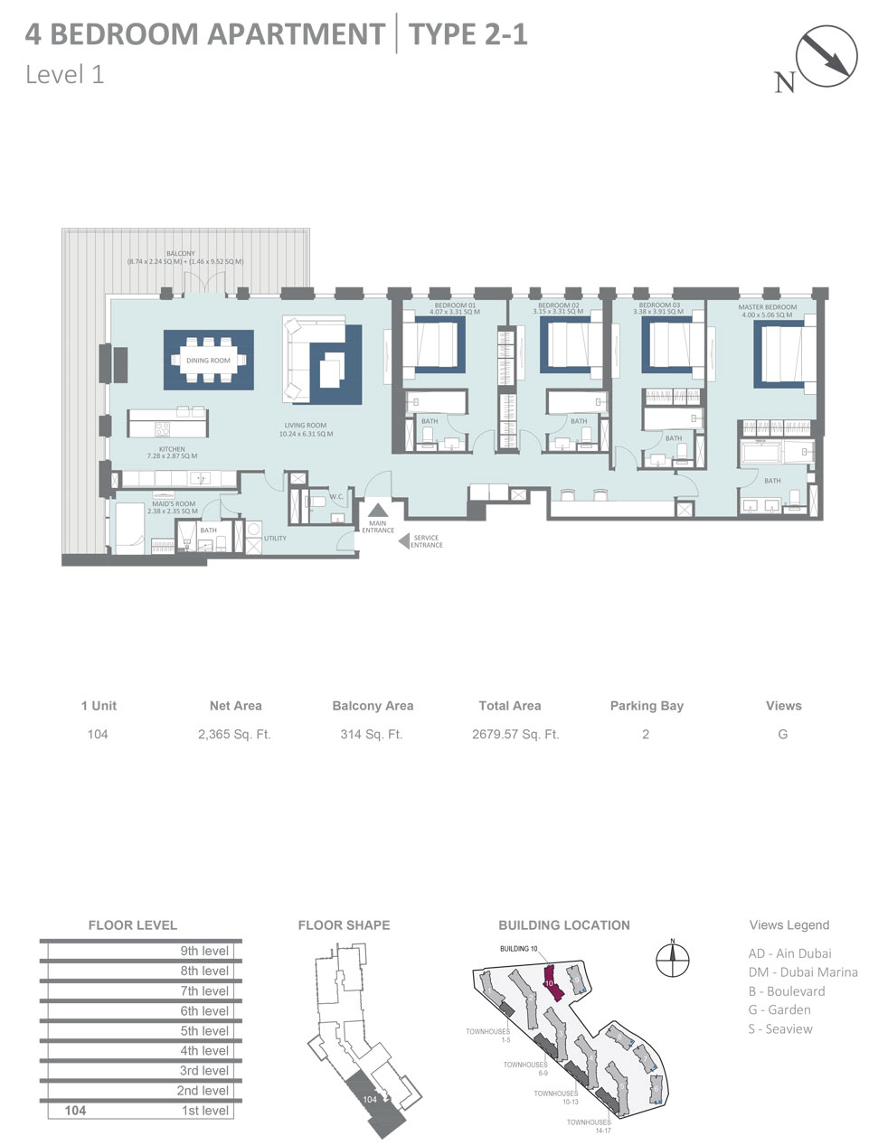 Building 10 - 4 Bedroom Apartment Type 2 - 1, Level 1, Size 2679  sq. ft.