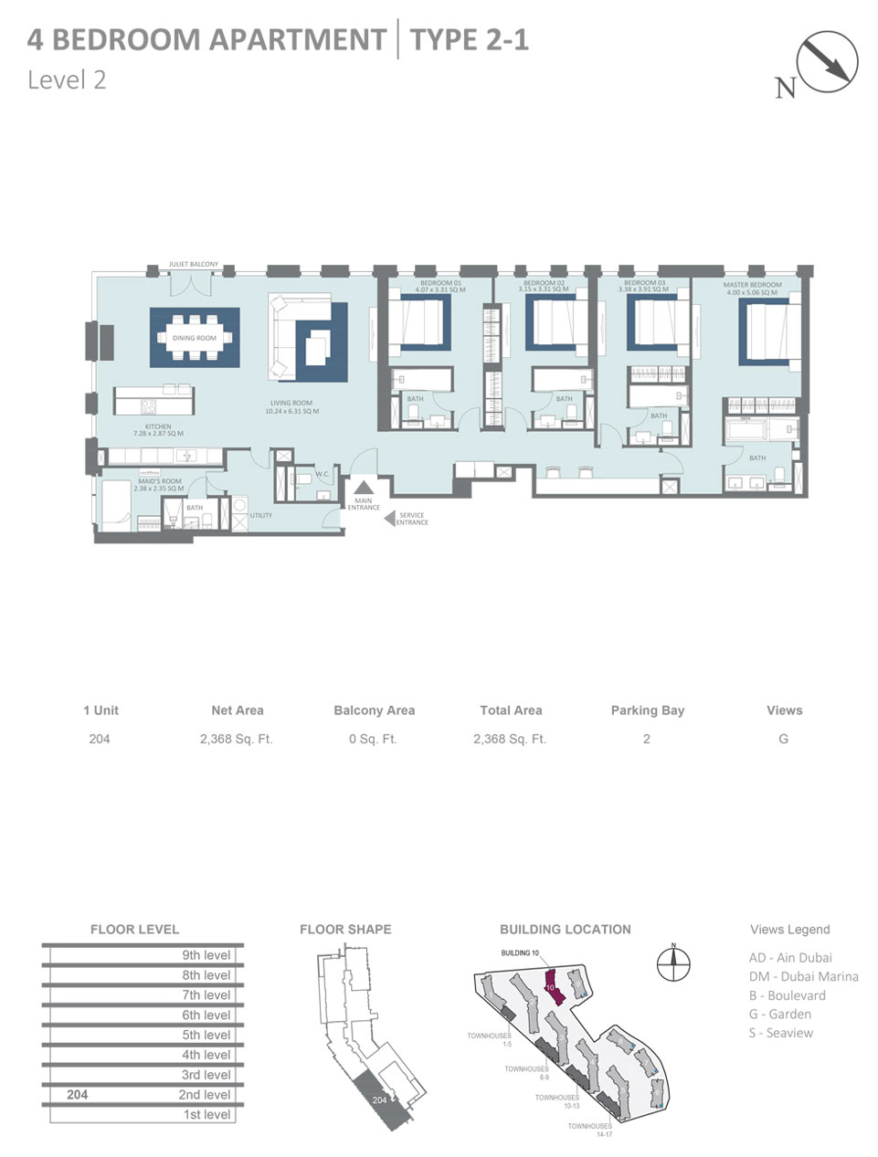 Building 10 - 4 Bedroom Apartment Type 2 - 1, Level 2, Size 2368  sq. ft.