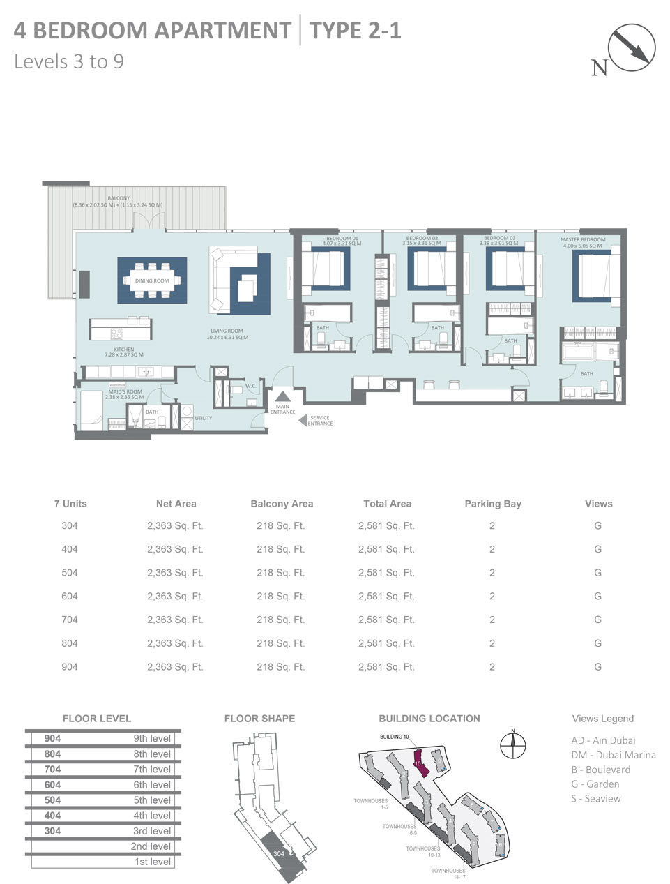 Building 10 - 4 Bedroom Apartment Type 2 - 1, Level 3 - 9, Size 2581  sq. ft.