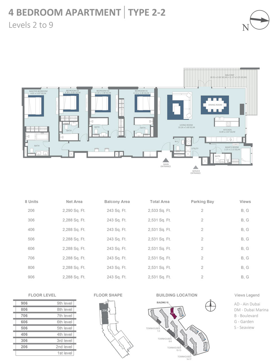Building 10 - 4 Bedroom Apartment Type 2 - 2, Level 2 - 9, Size 2533  sq. ft.