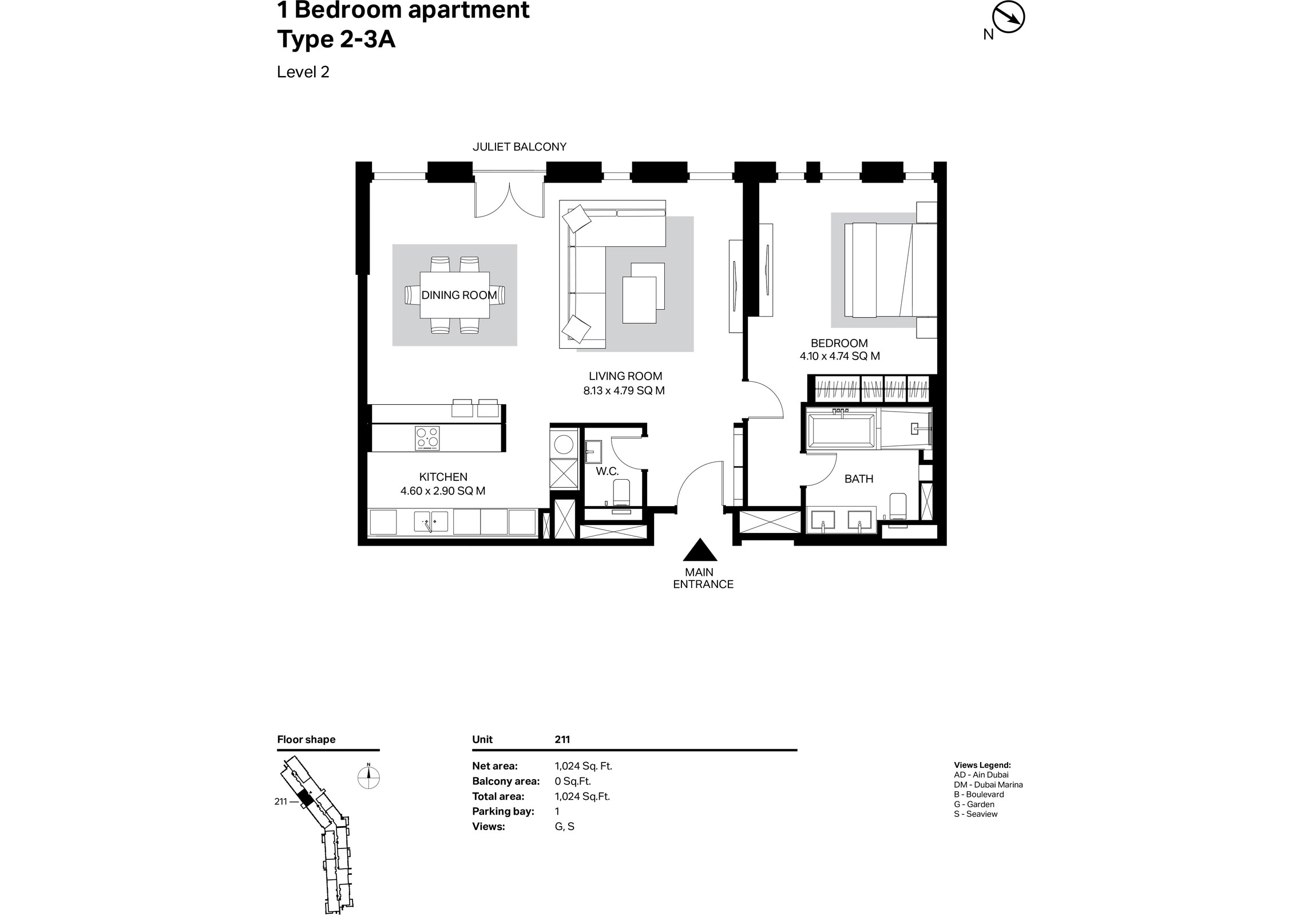 Building 2 - 1 Bedroom Type 2-3A Size 1024    sq. ft.