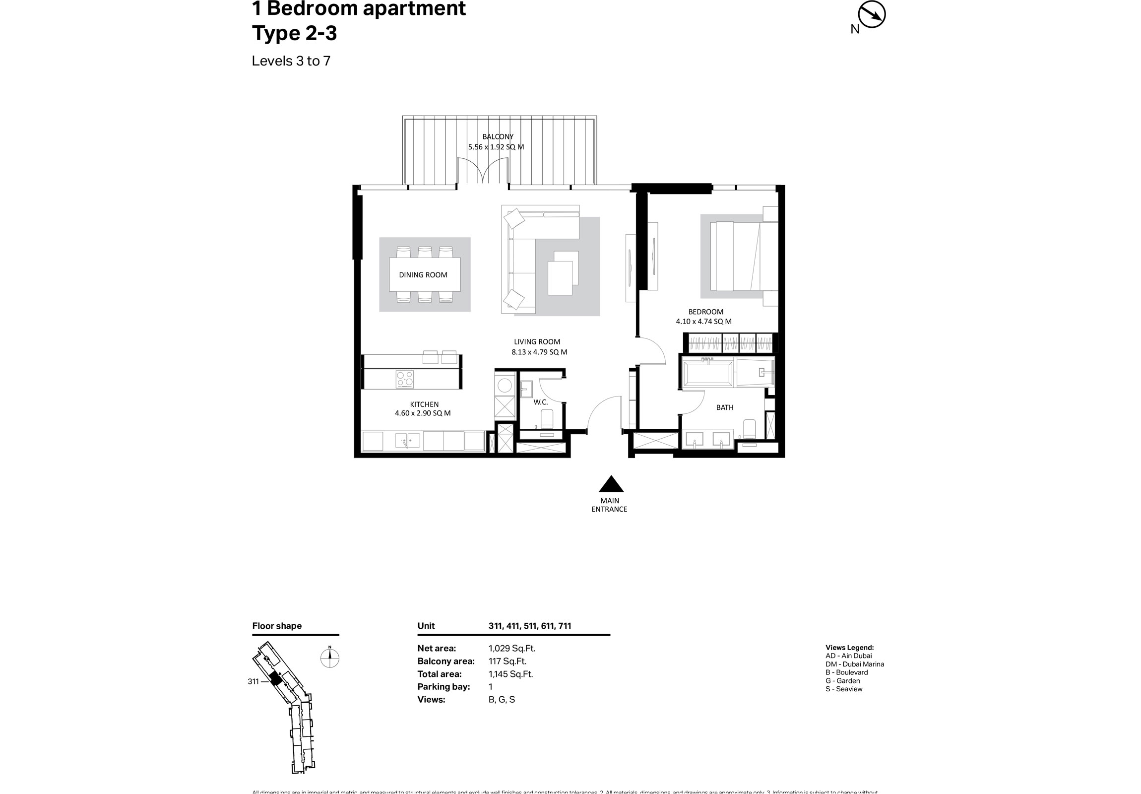 Building 2 - 1 Bedroom Type 2-3 Level 3-7 Size 1145    sq. ft.