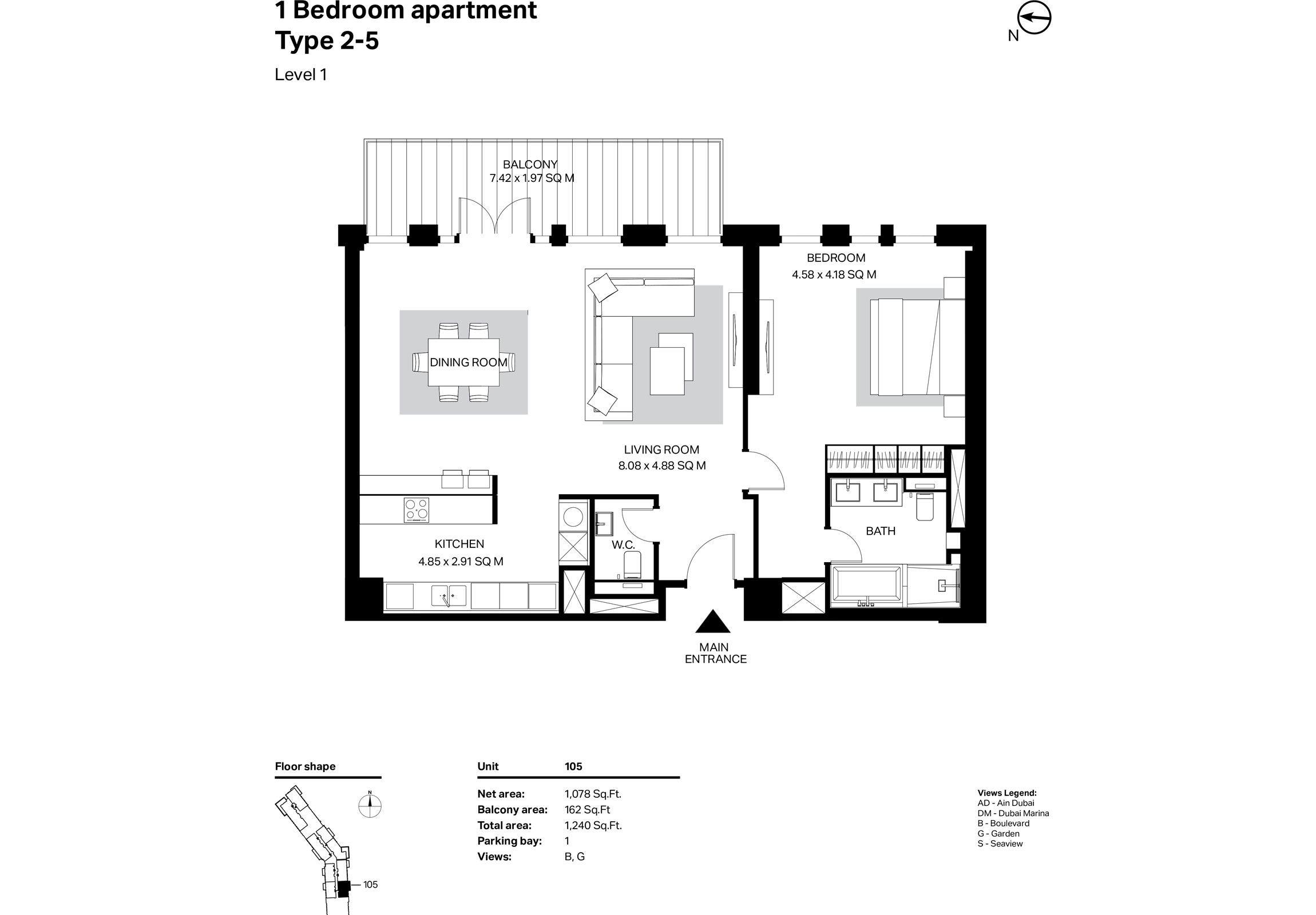 Building 2 - 1 Bedroom Type 2-5 Level 1 Size 1240    sq. ft.