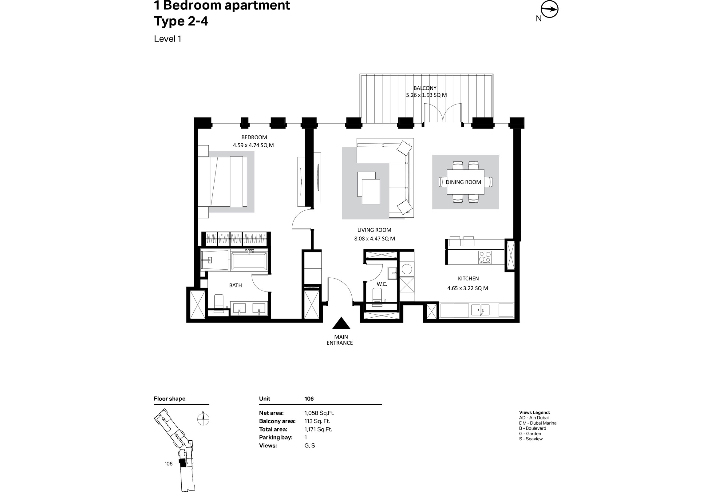 Building 2 - 1 Bedroom Type 2-4 Level 1 Size 1058    sq. ft.