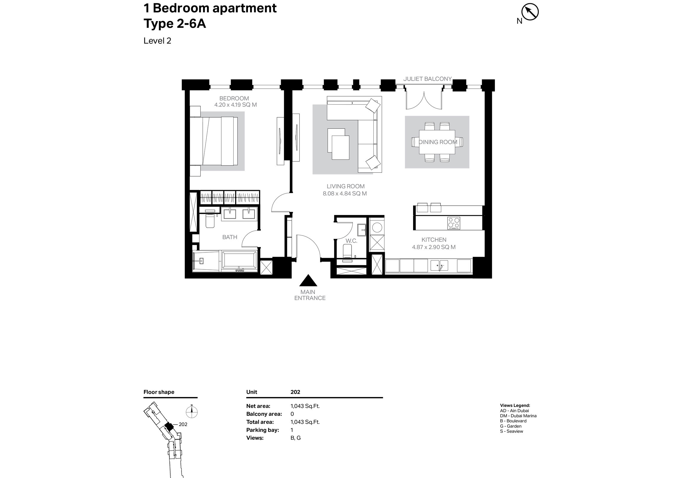 Building 2 - 1 Bedroom Type 2-6A Level 2 Size 1043    sq. ft.