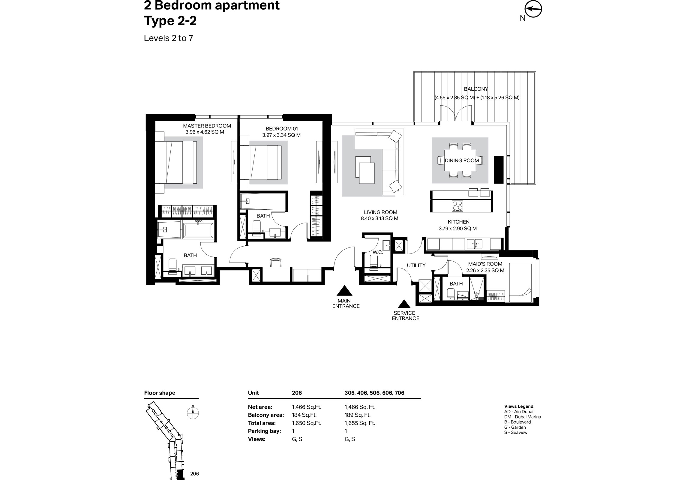 Building 2 - 2 Bedroom Type 2-2 Level 2 To 7 Size 1655    sq. ft.