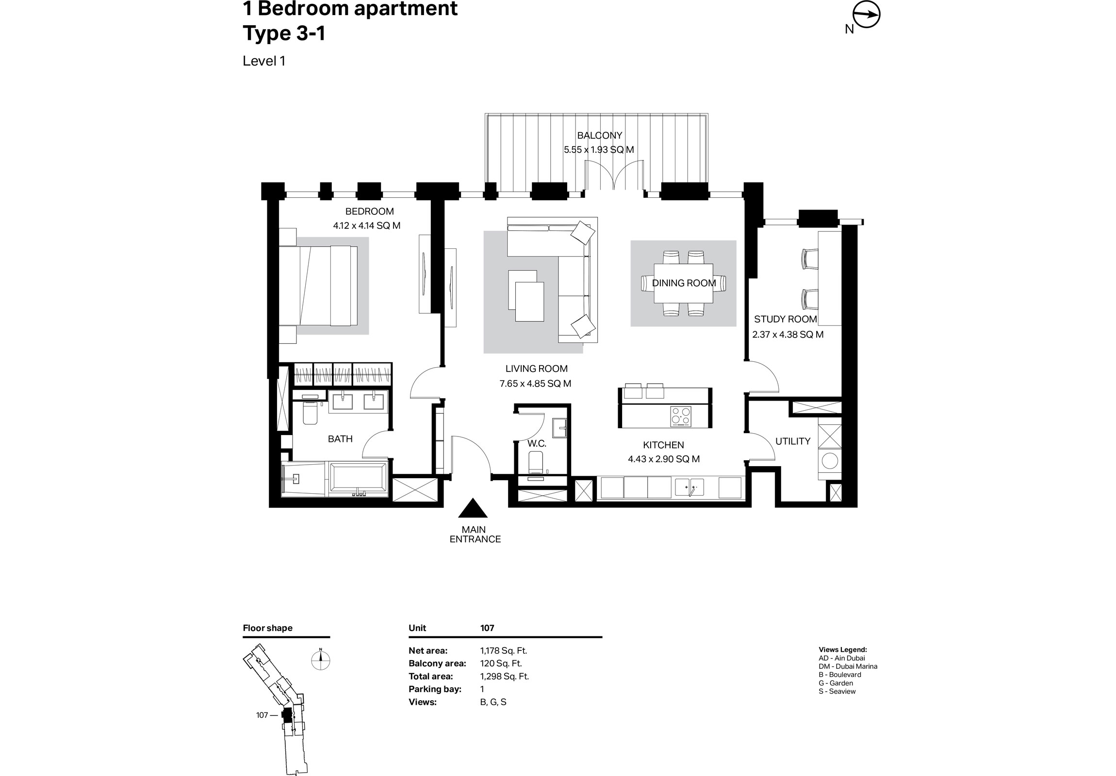 Building 2 - 1 Bedroom Type 3-1 Level 1 Size 1298    sq. ft.