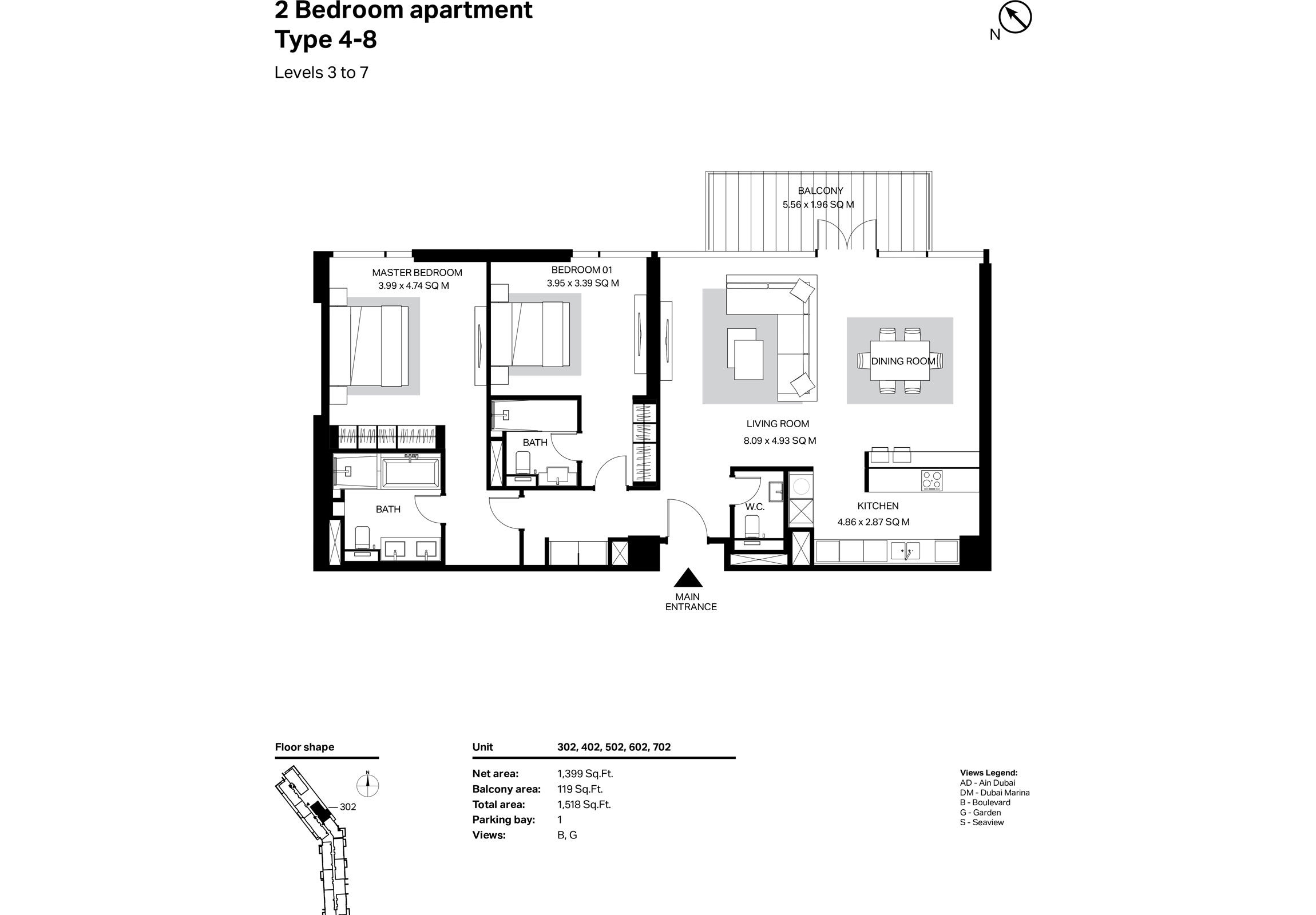 Building 2 - 2 Bedroom Type 4-8 Level 3 To 7 Size 1518    sq. ft.