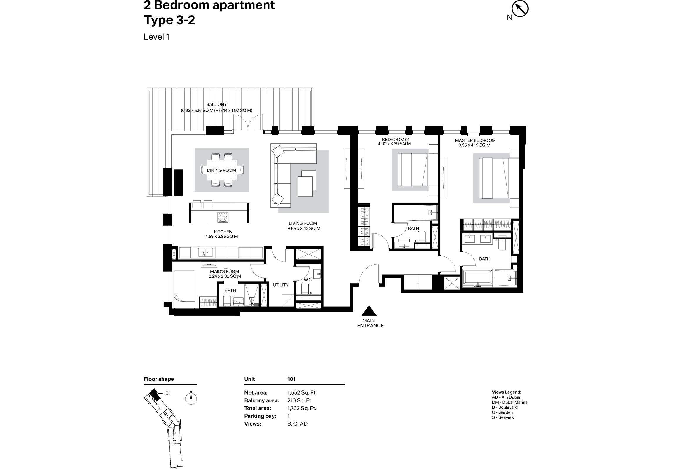 Building 2 - 2 Bedroom Type 3-2 Level 1 Size 1762    sq. ft.