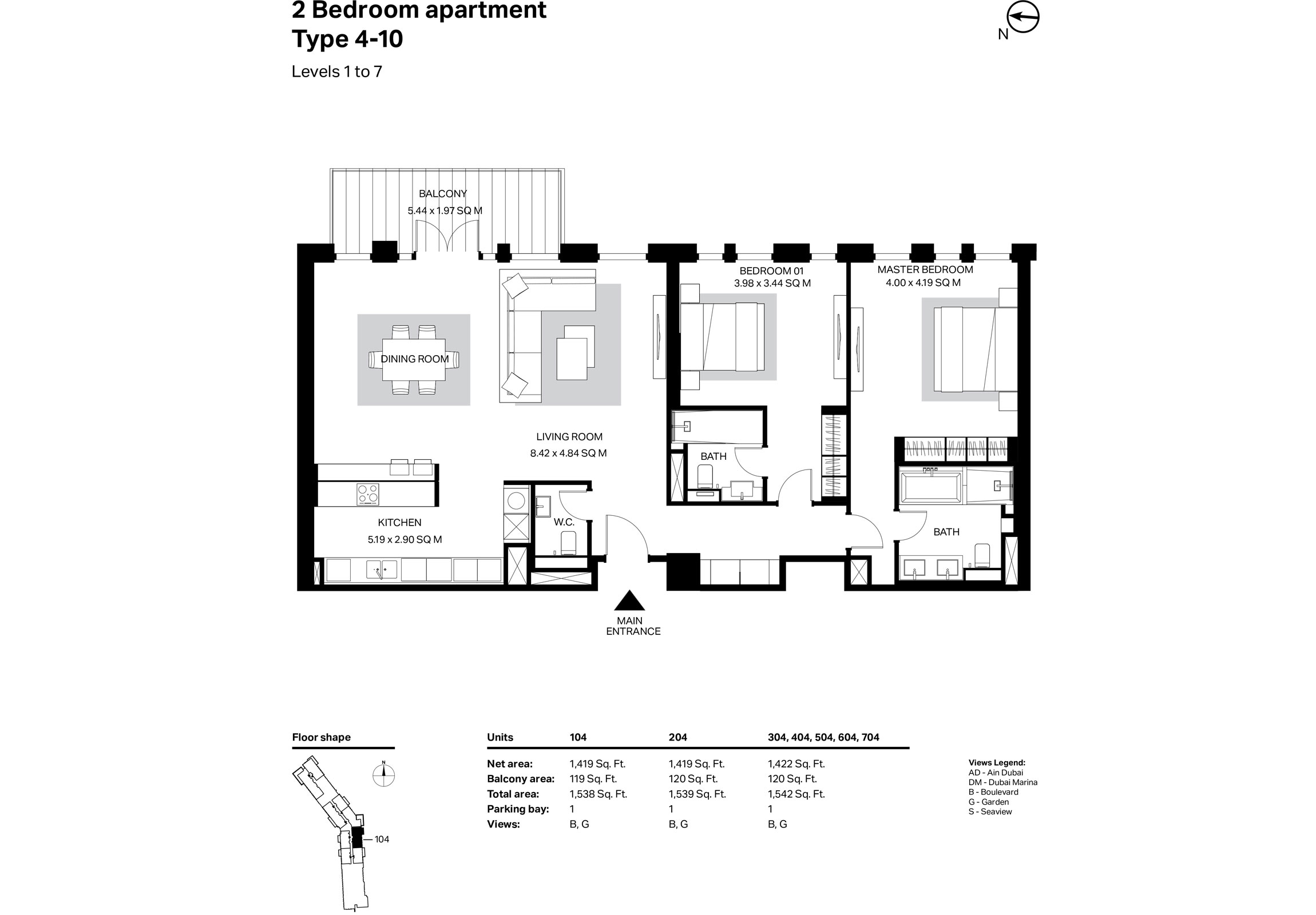 Building 2 - 2 Bedroom Type 4-10 Level 1 To 7 Size 1542    sq. ft.