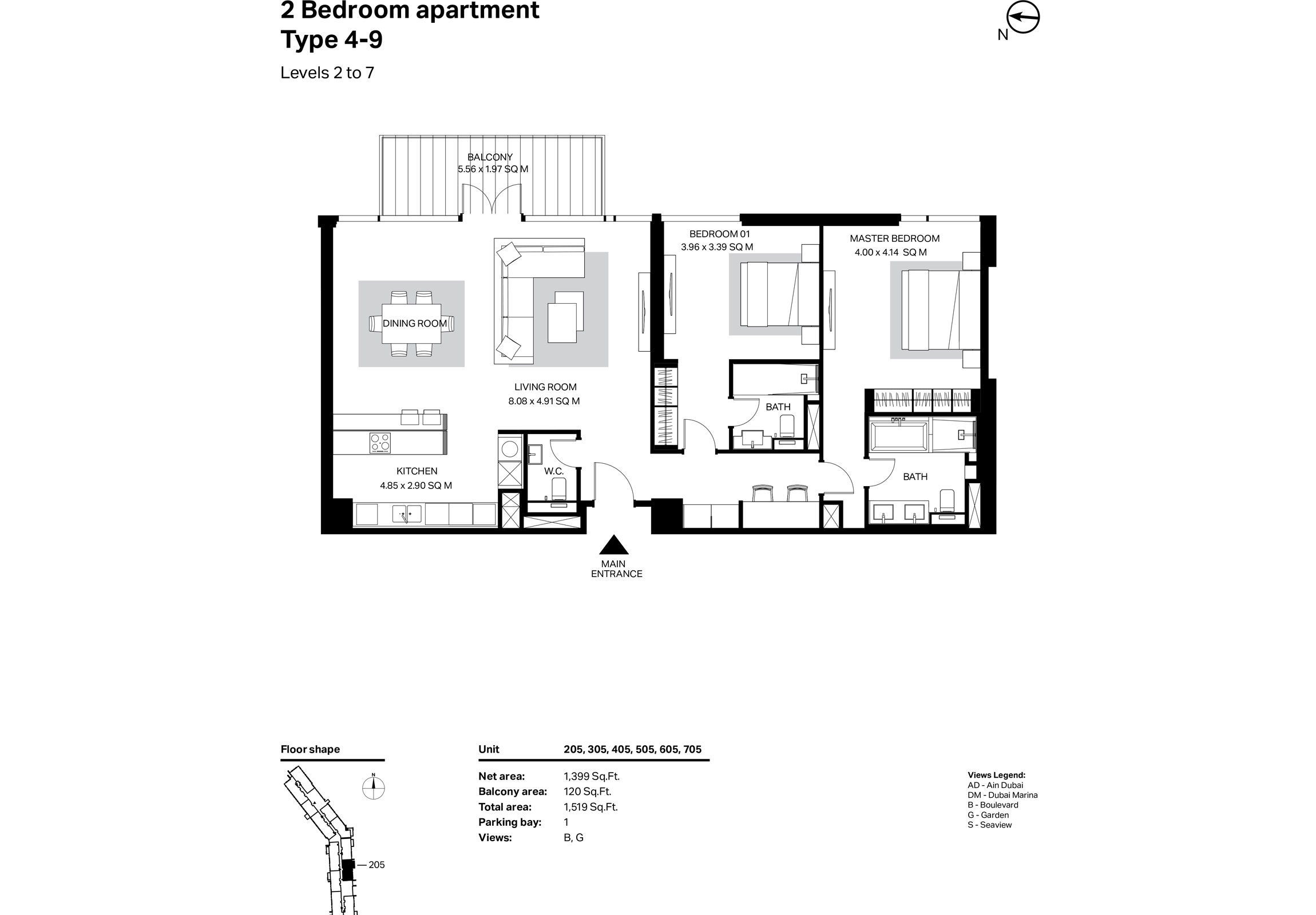 Building 2 - 2 Bedroom Type 4-9 Level 2 To 7 Size 1519    sq. ft.
