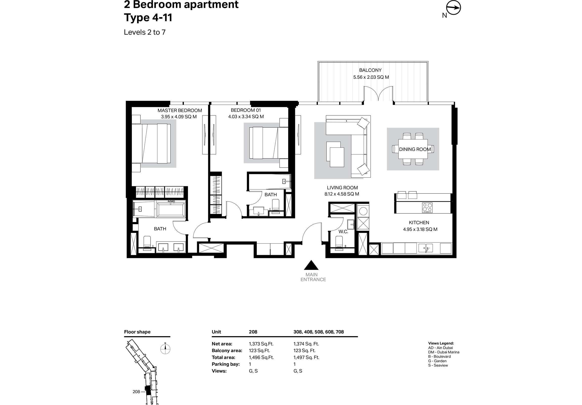 Building 2 - 2 Bedroom Type 4-11 Level 2 To 7 Size 1497    sq. ft.