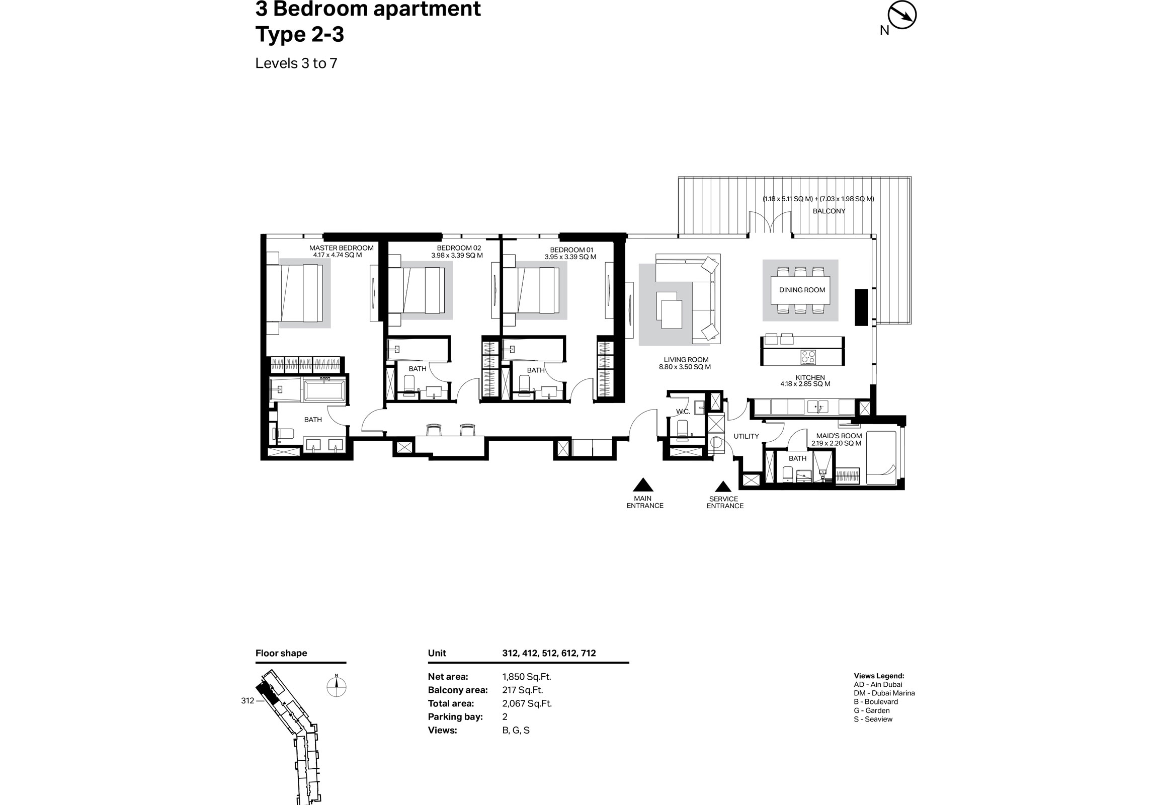 Building 2 - 3 Bedroom Type 2-3 Level 3 To 7 Size 2067    sq. ft.