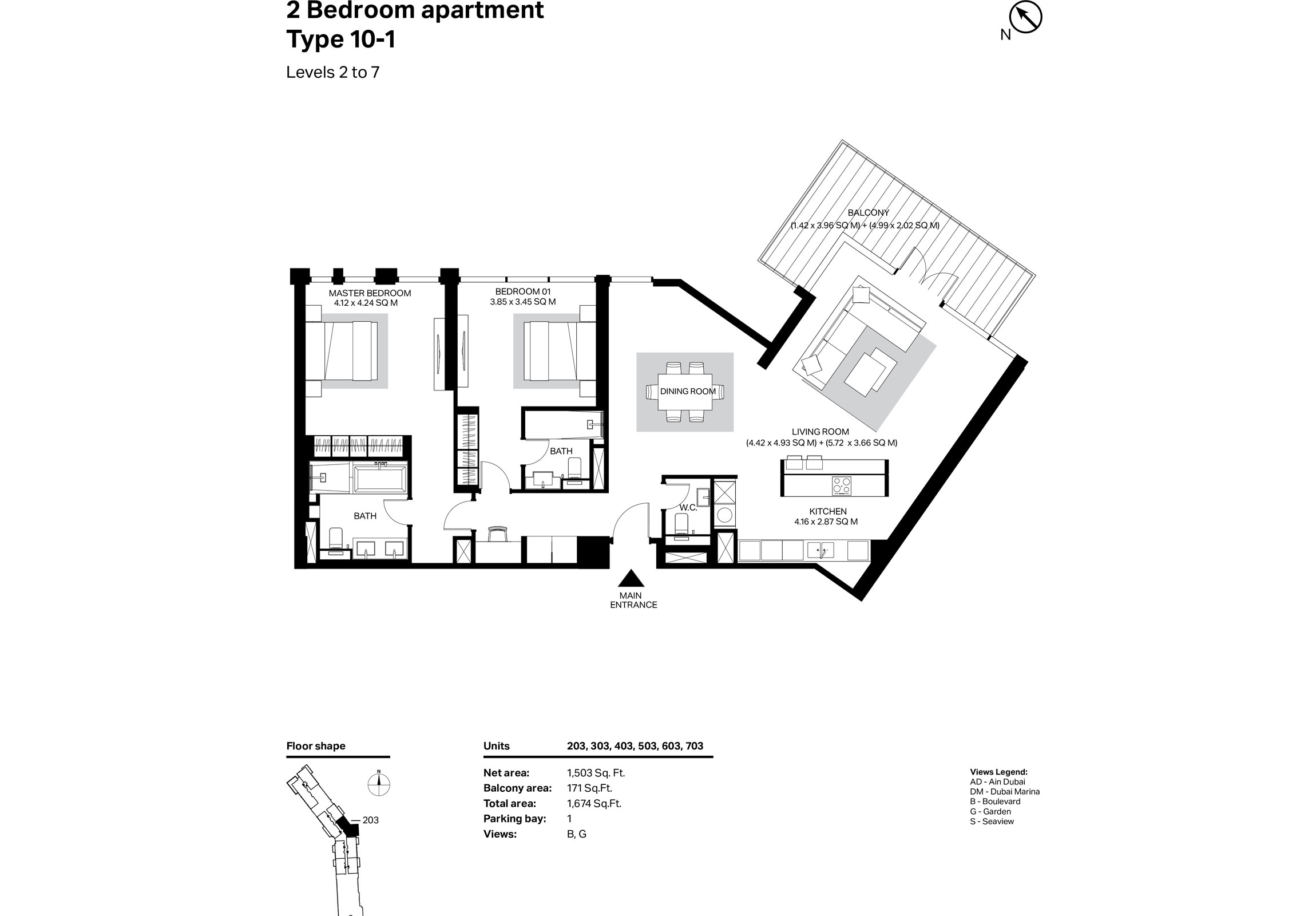 Building 2 - 2 Bedroom Type 10-1 Level 2 To 7 Size 1674    sq. ft.