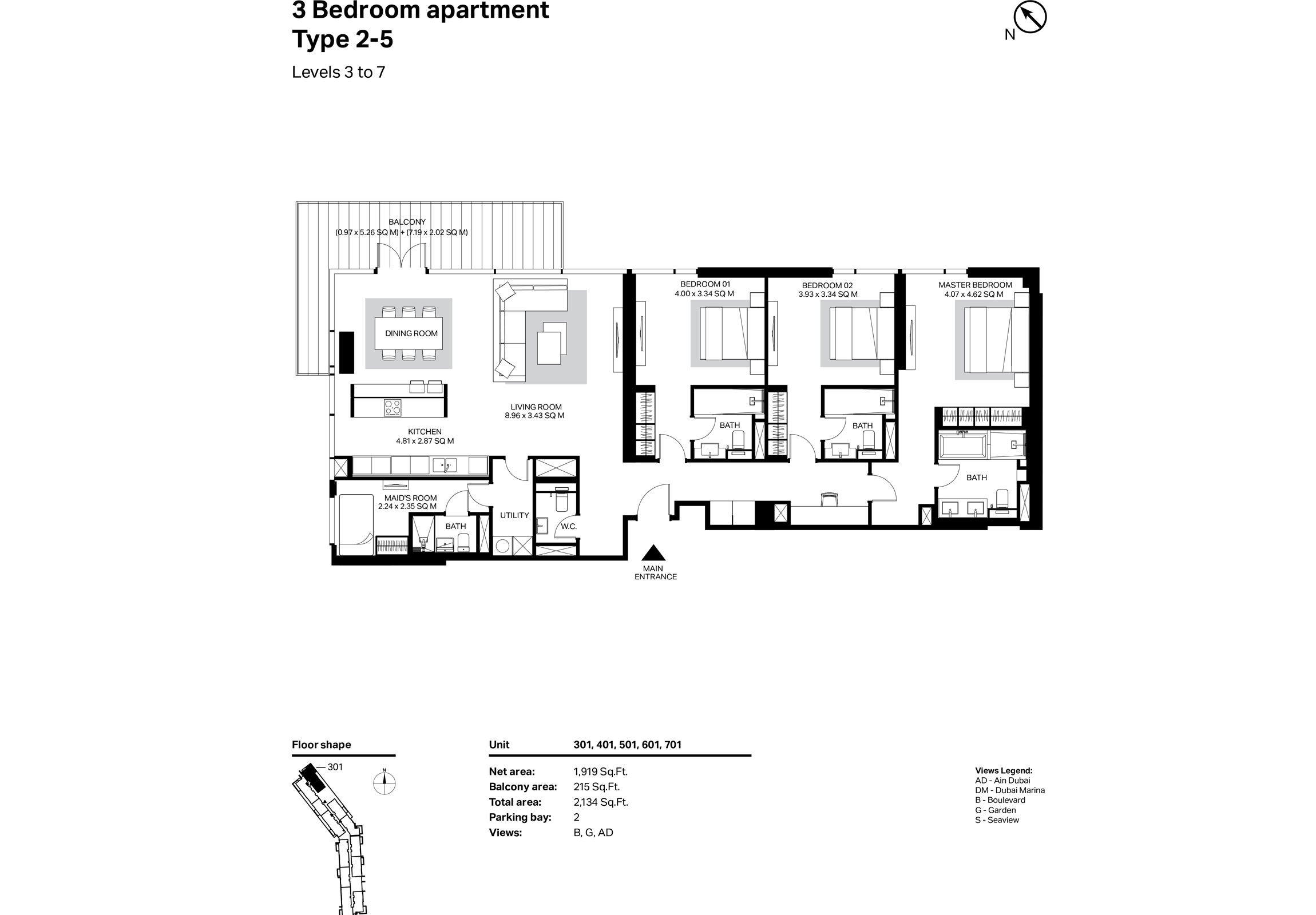Building 2 - 3 Bedroom Type 2-5 Level 3 To 7 Size 2134    sq. ft.