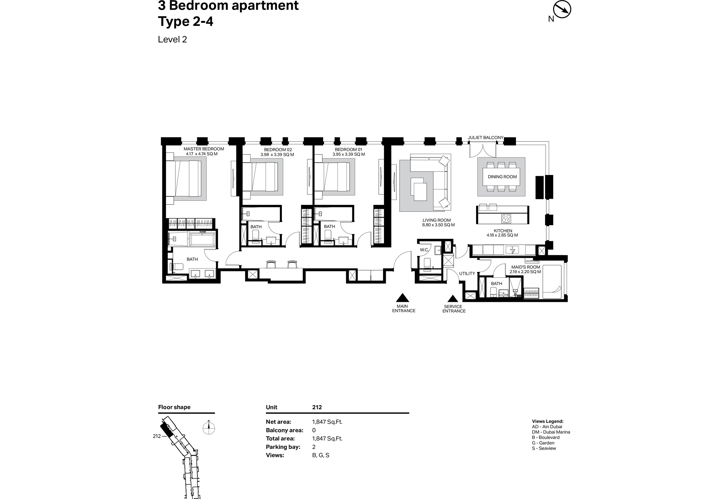 Building 2 - 3 Bedroom Type 2-4 Level 2 Size 1847    sq. ft.