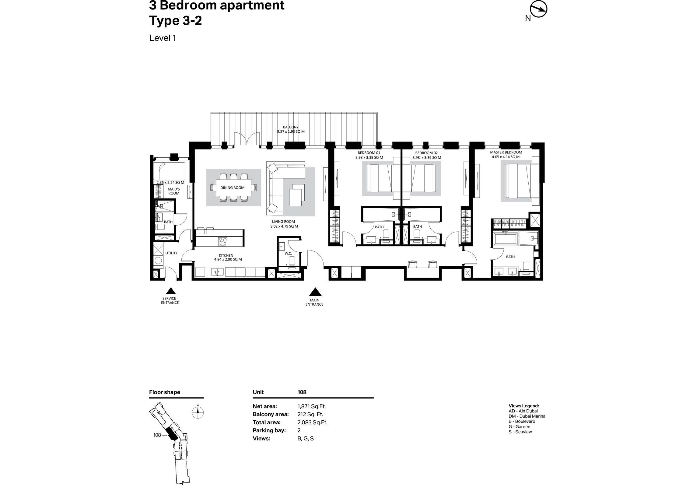 Building 2 - 3 Bedroom Type 3-2 Level 1 Size 2083    sq. ft.