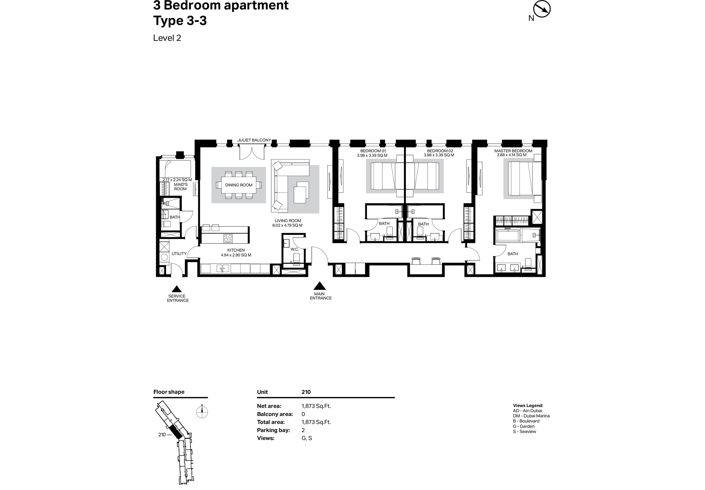 Building 2 - 3 Bedroom Type 3-3 Level 2 Size 1873    sq. ft.
