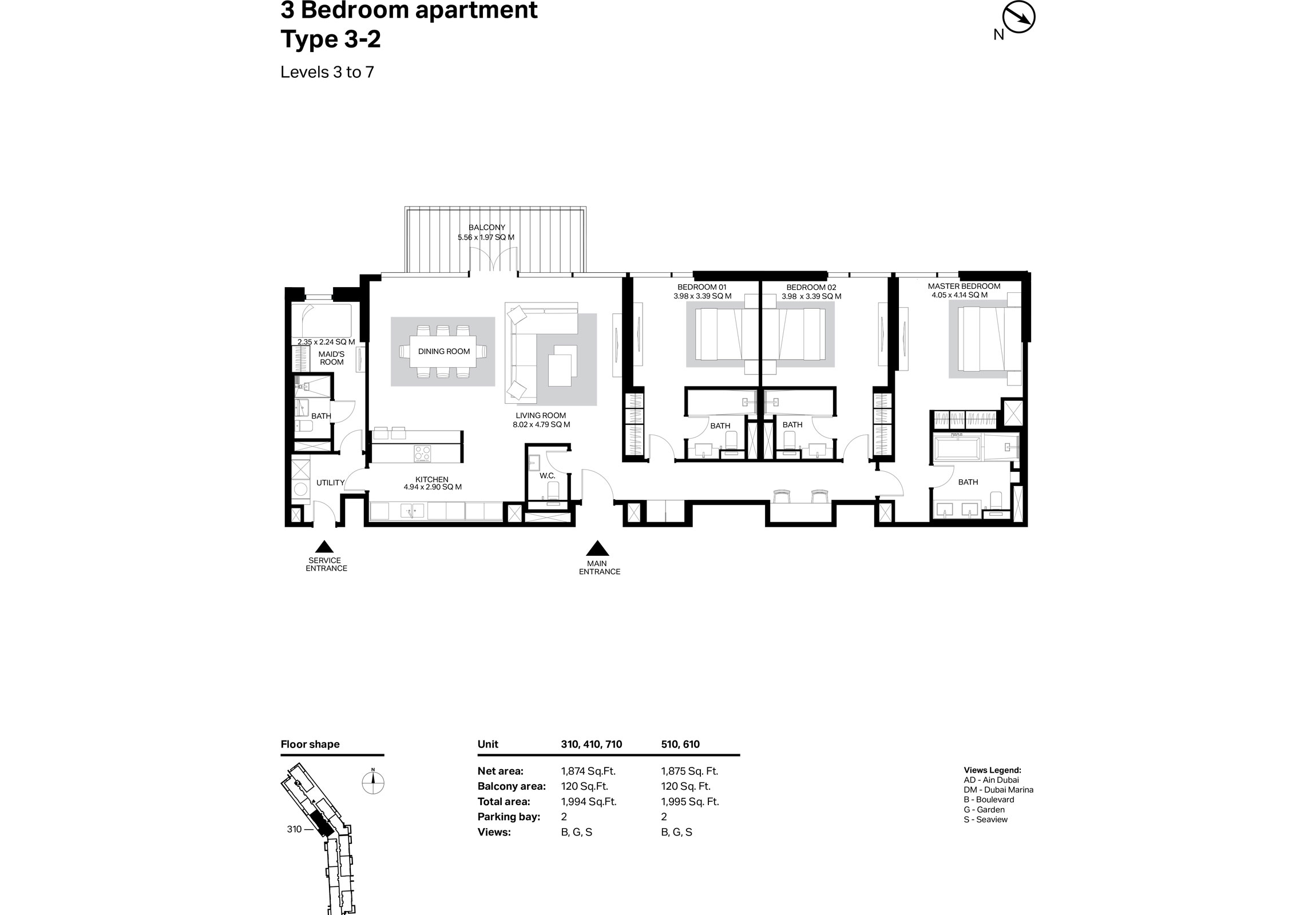 Building 2 - 3 Bedroom Type 3-2 Level 3 To 7 Size 1995    sq. ft.