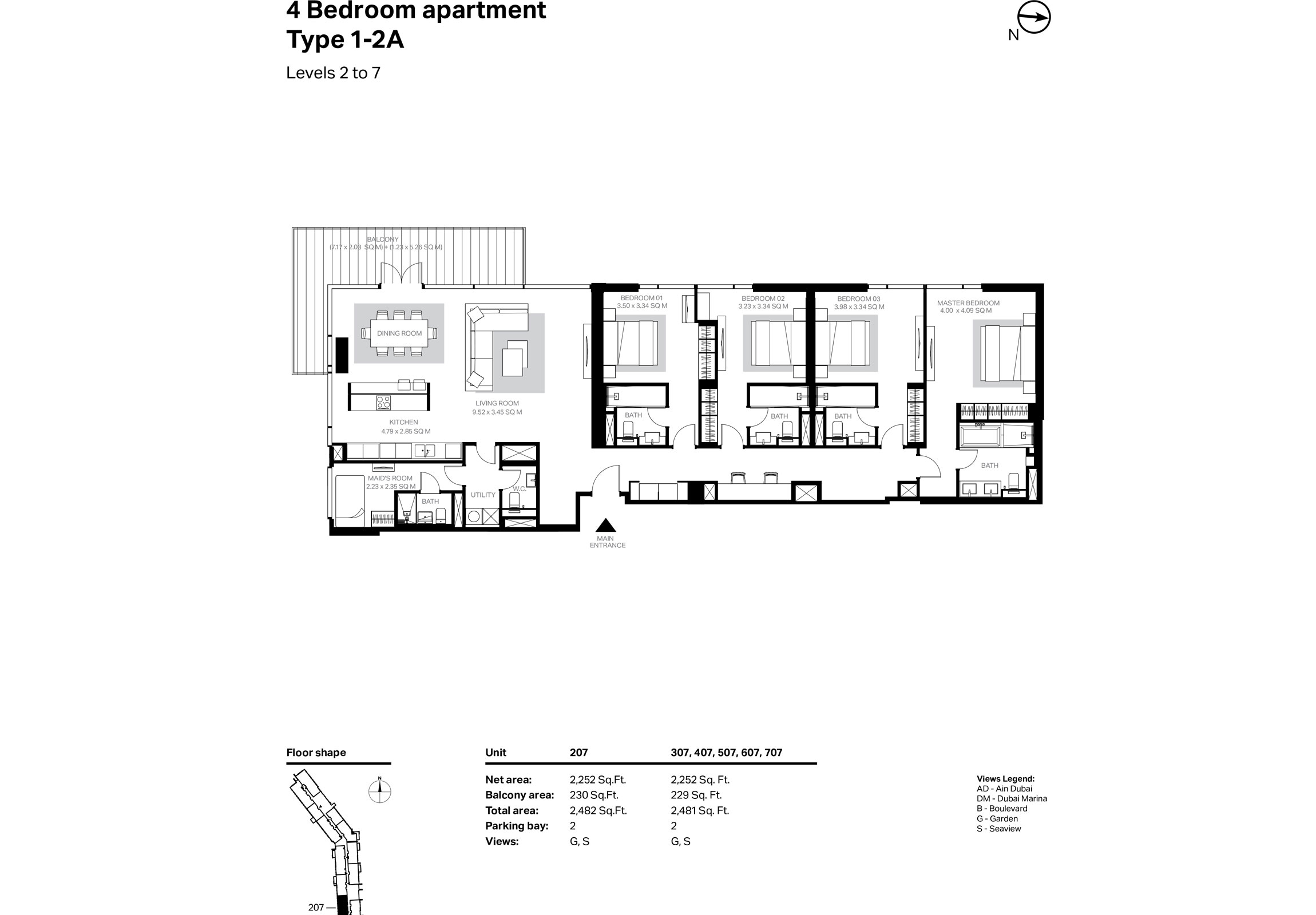 Building 2 - 4 Bedroom Type 1-2A Level 2 To 7 Size 2481    sq. ft.