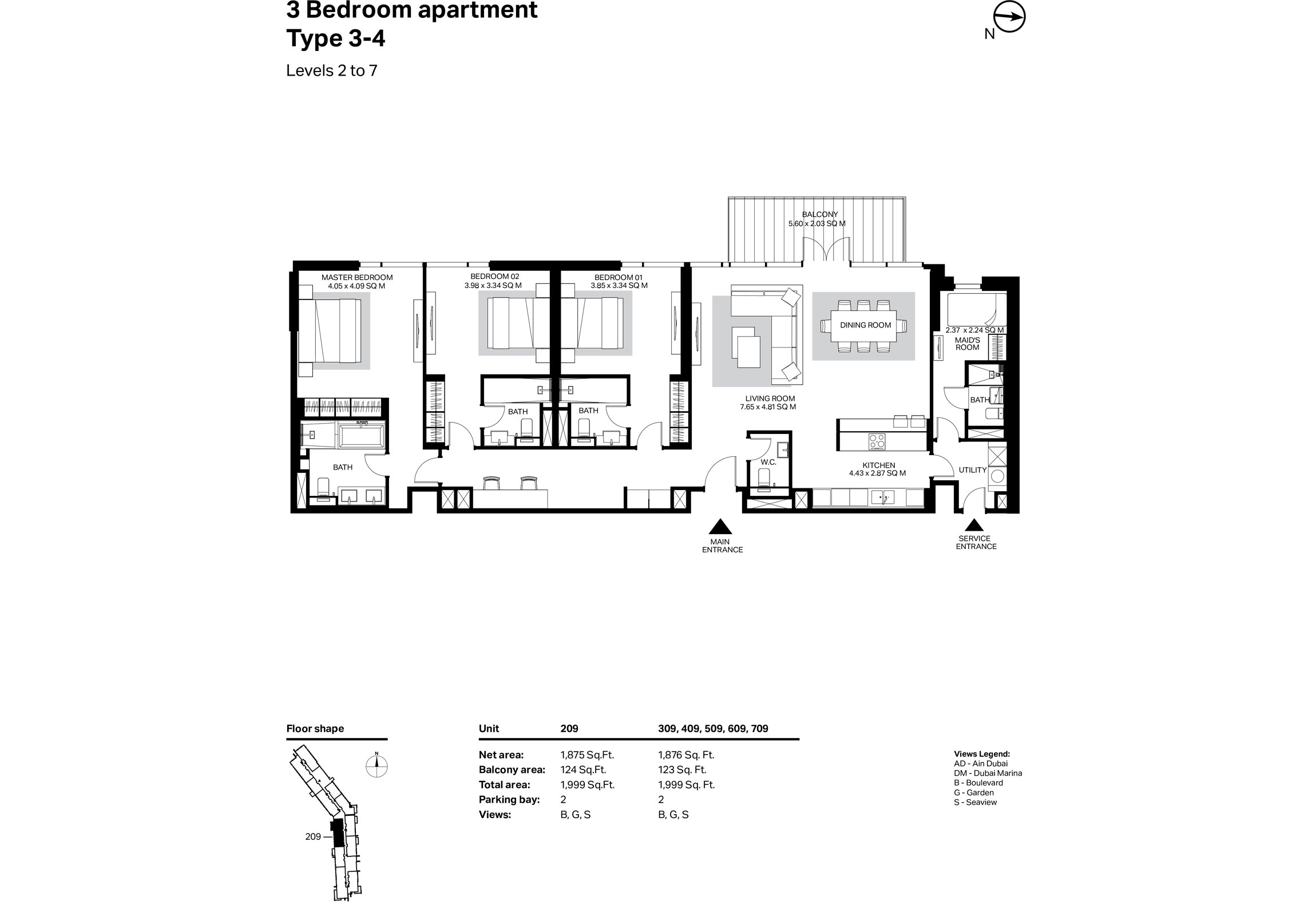 Building 2 - 3 Bedroom Type 3-4 Level 2 To 7 Size 1999    sq. ft.