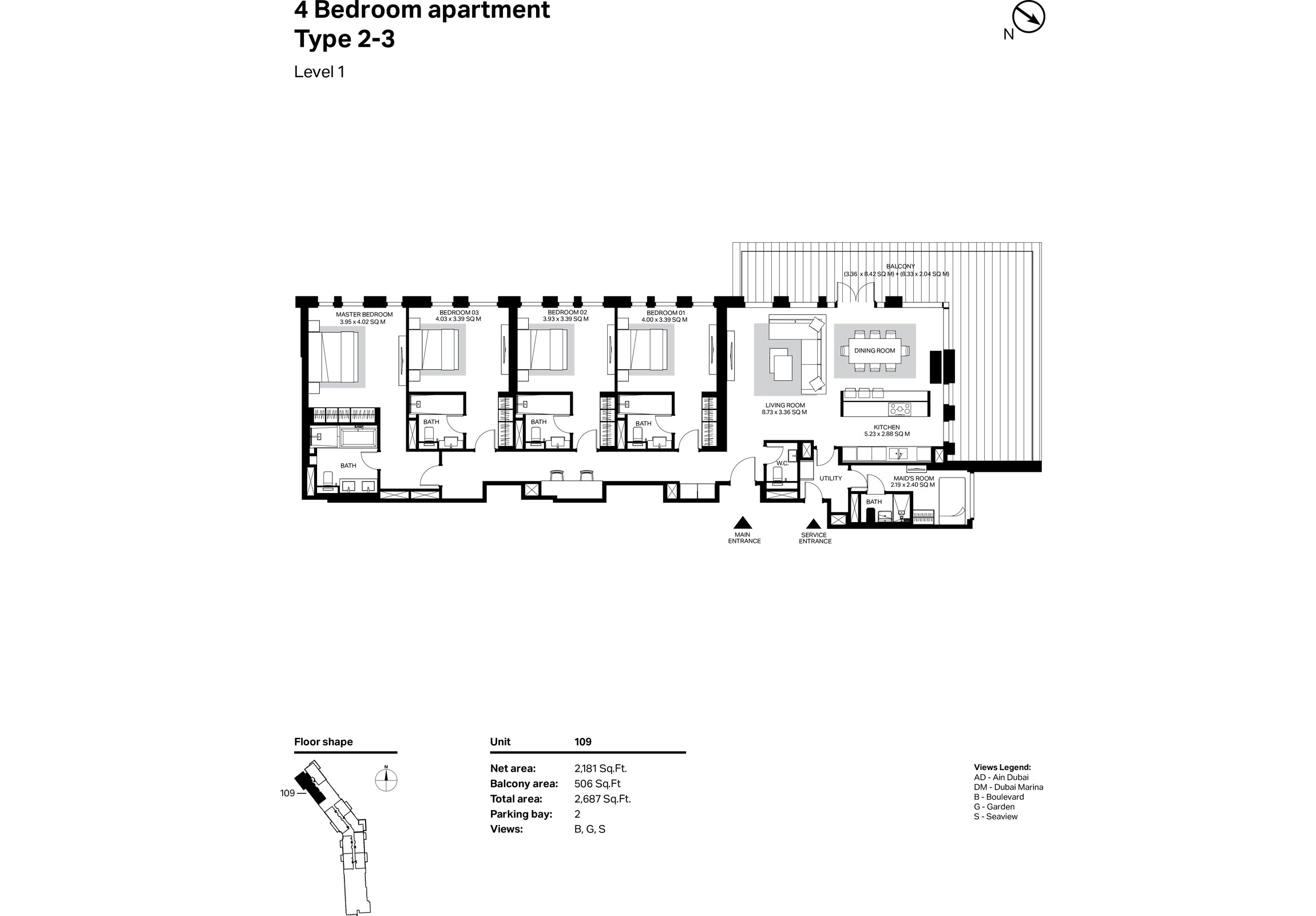 Building 2 - 4 Bedroom Type 2-3 Level 1 Size 2687    sq. ft.