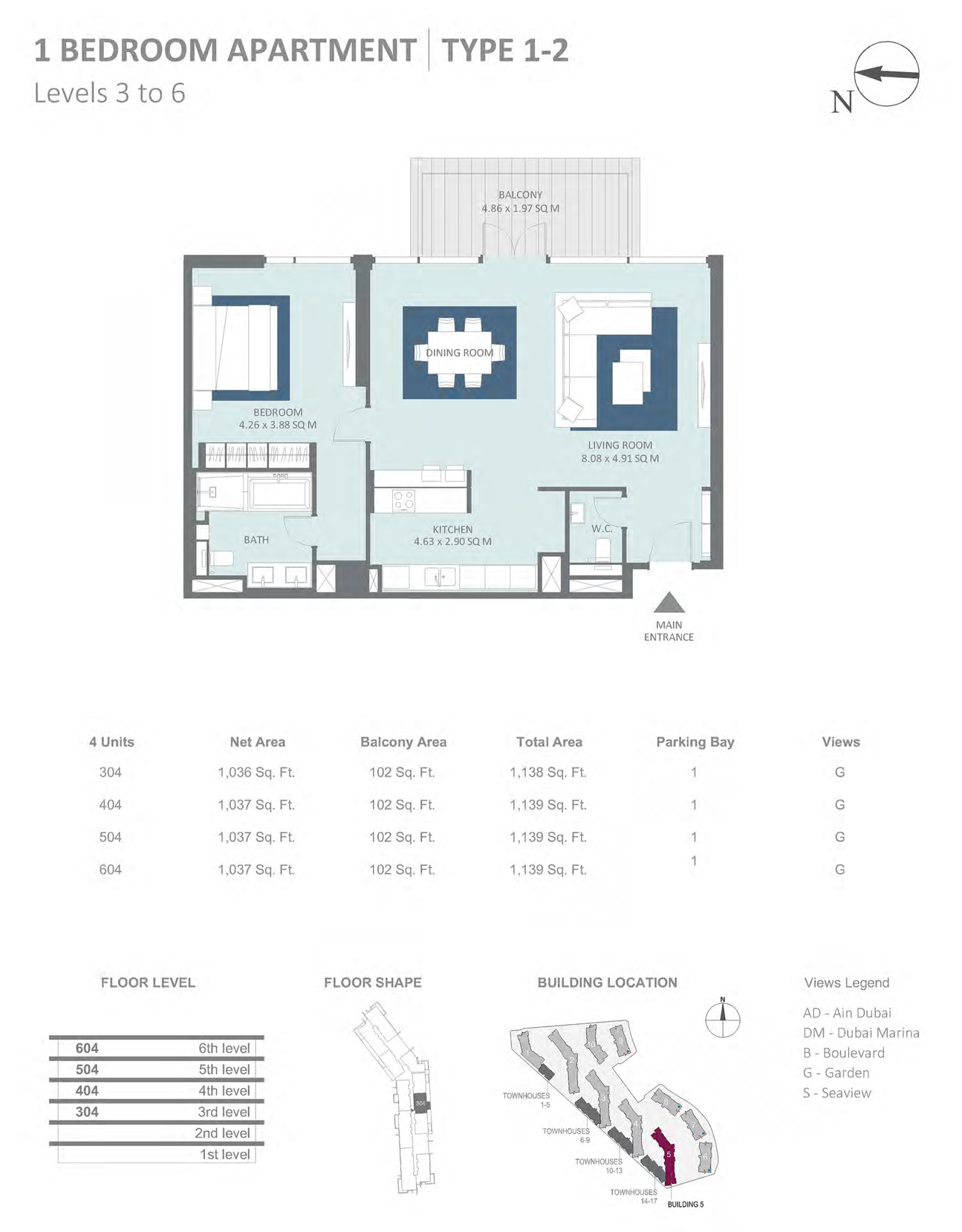 Building 5 - 1 Bedroom Type 1-2, Level 3 - 6 Size 1139  sq. ft.
