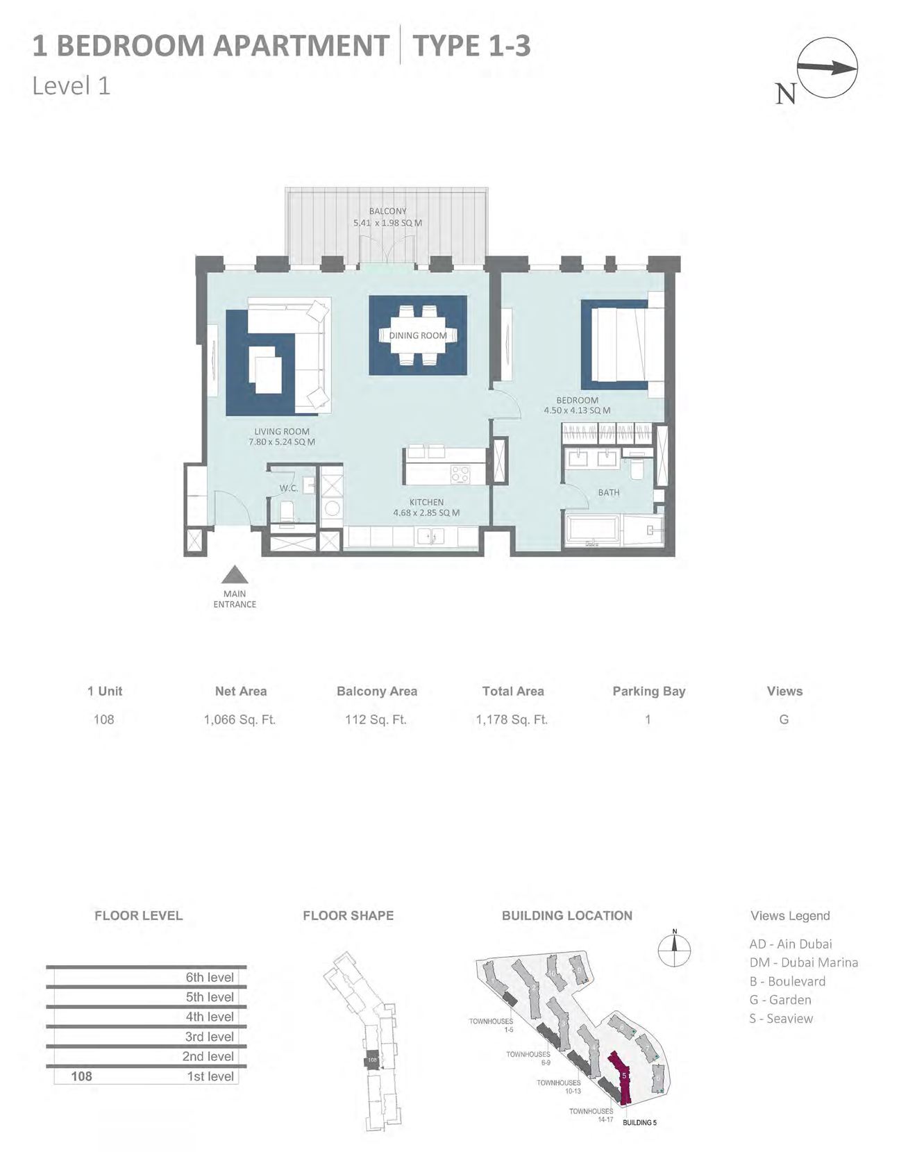Building 5 - 1 Bedroom Type 1 - 3 Level 1 , Size 1066    sq. ft.