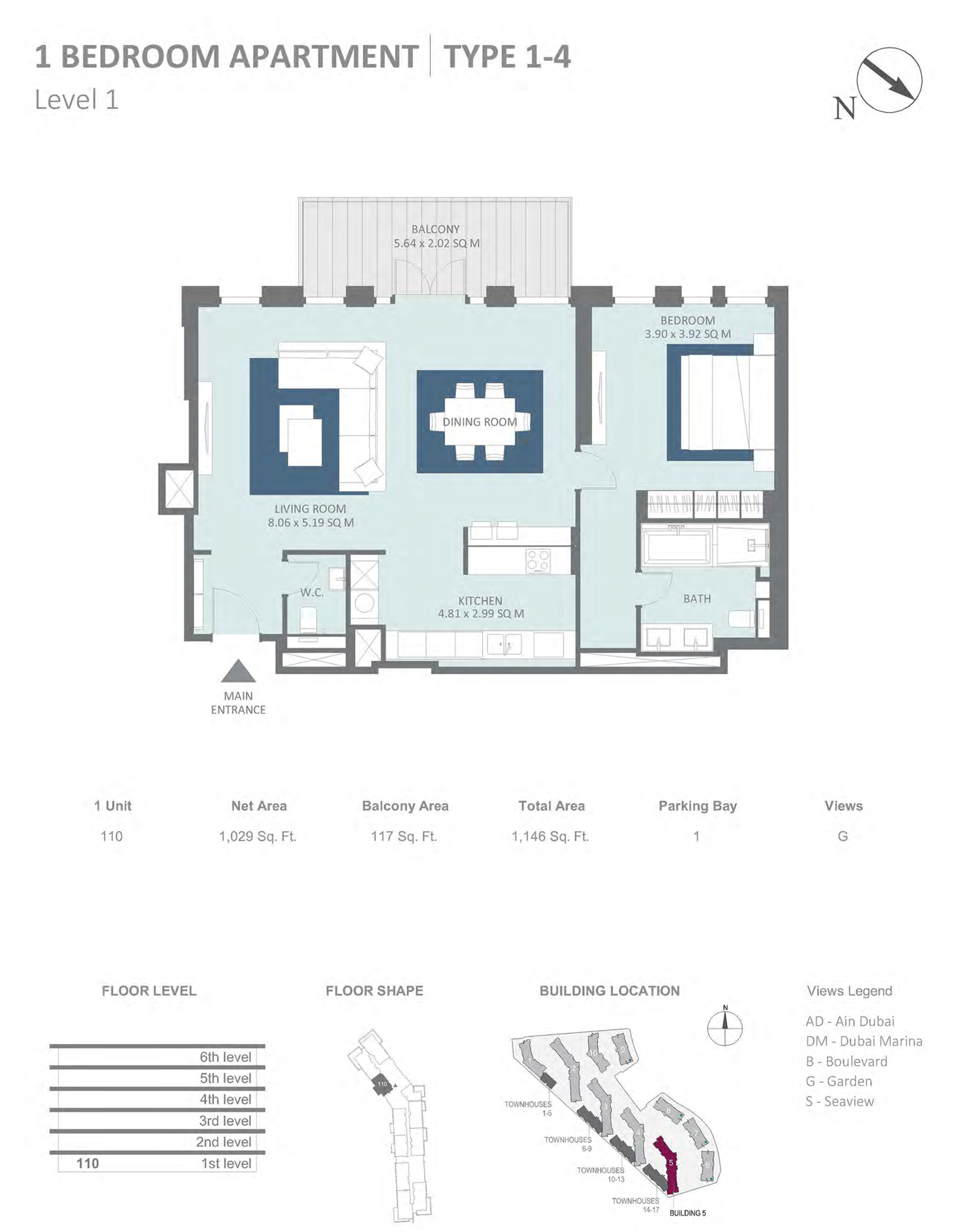 Building 5 - 1 Bedroom Type 1-4 Level 1 , Size 1029    sq. ft.