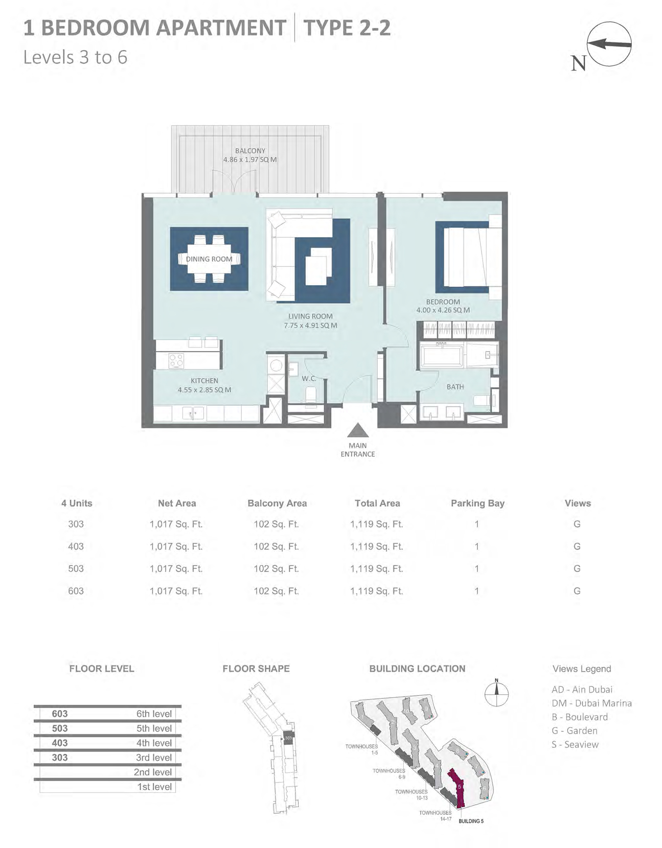 Building 5 - 1 Bedroom Type 2-2 Level 3-6 , Size 1119    sq. ft.