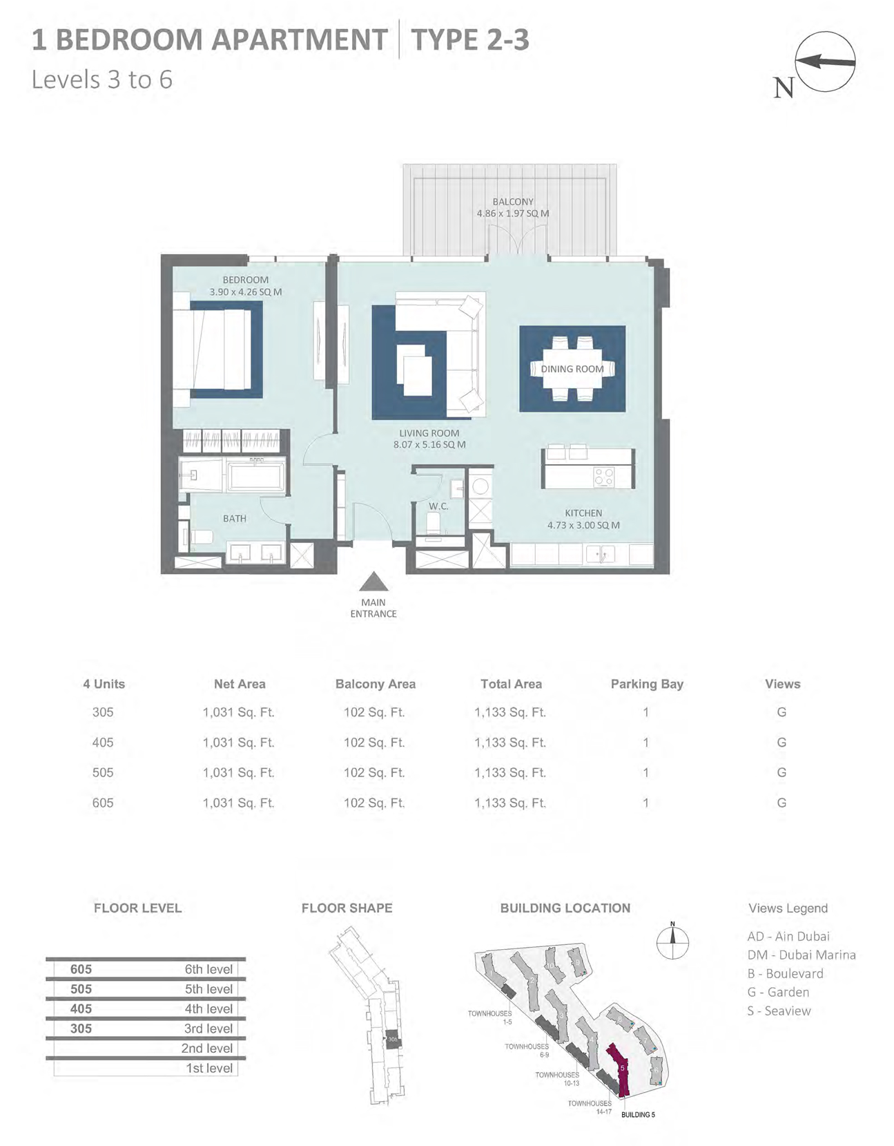 Building 5 - 1 Bedroom Type 2 - 3 Level 3-6 , Size 1133    sq. ft.
