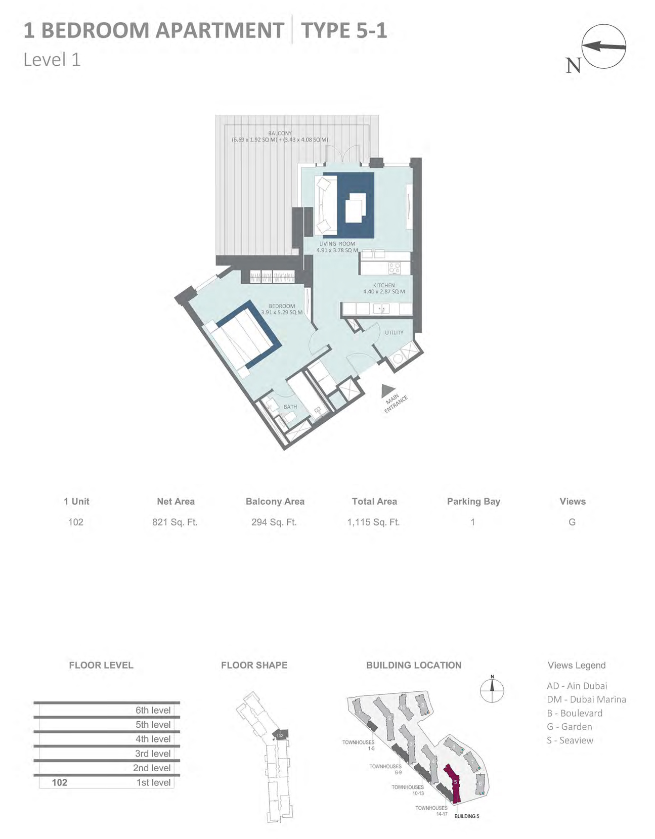 Building 5 - 1 Bedroom Type 5-1 Level 1 , Size 821    sq. ft.
