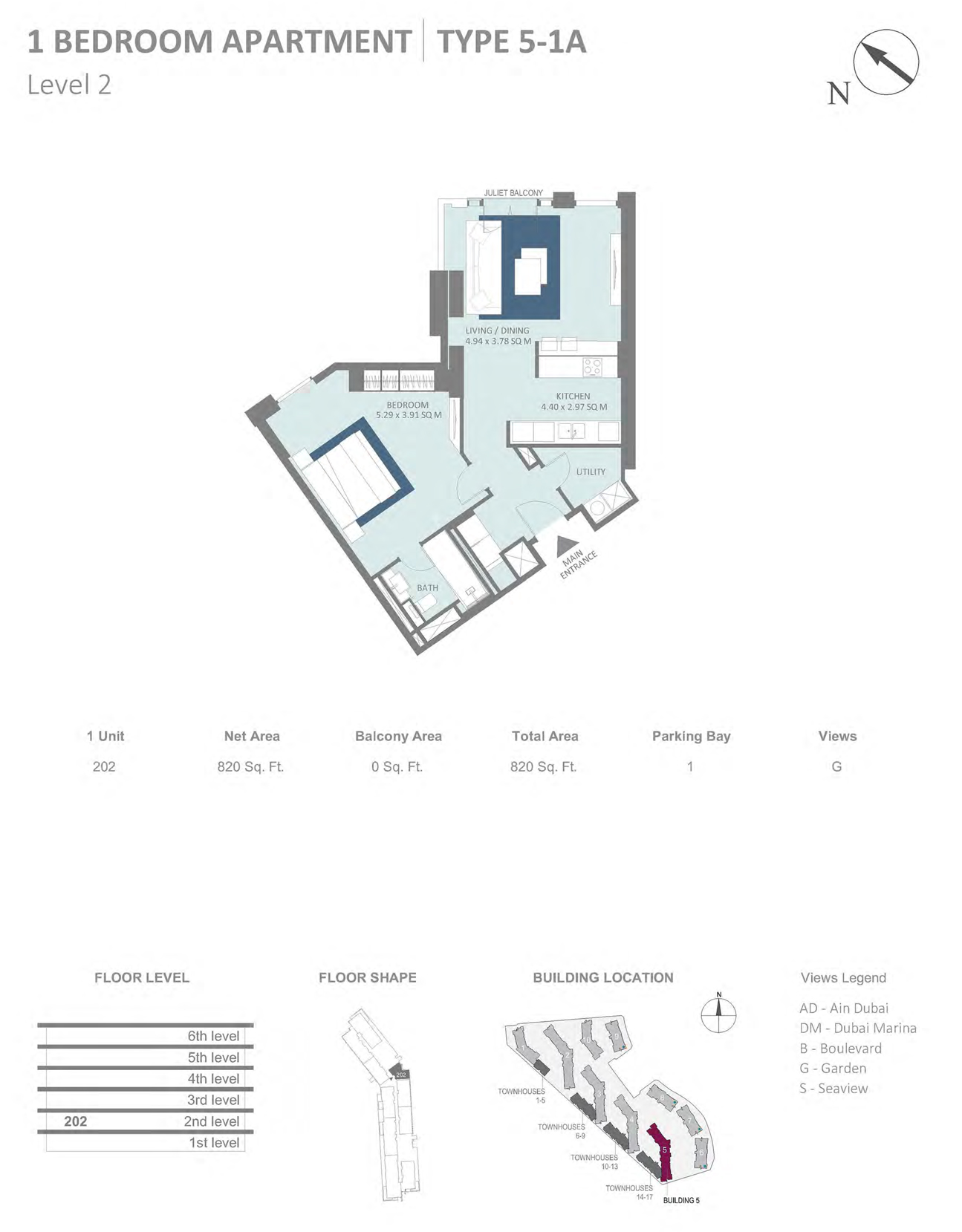 Building 5 - 1 Bedroom Type 5-1 Level 2 , Size 820    sq. ft.