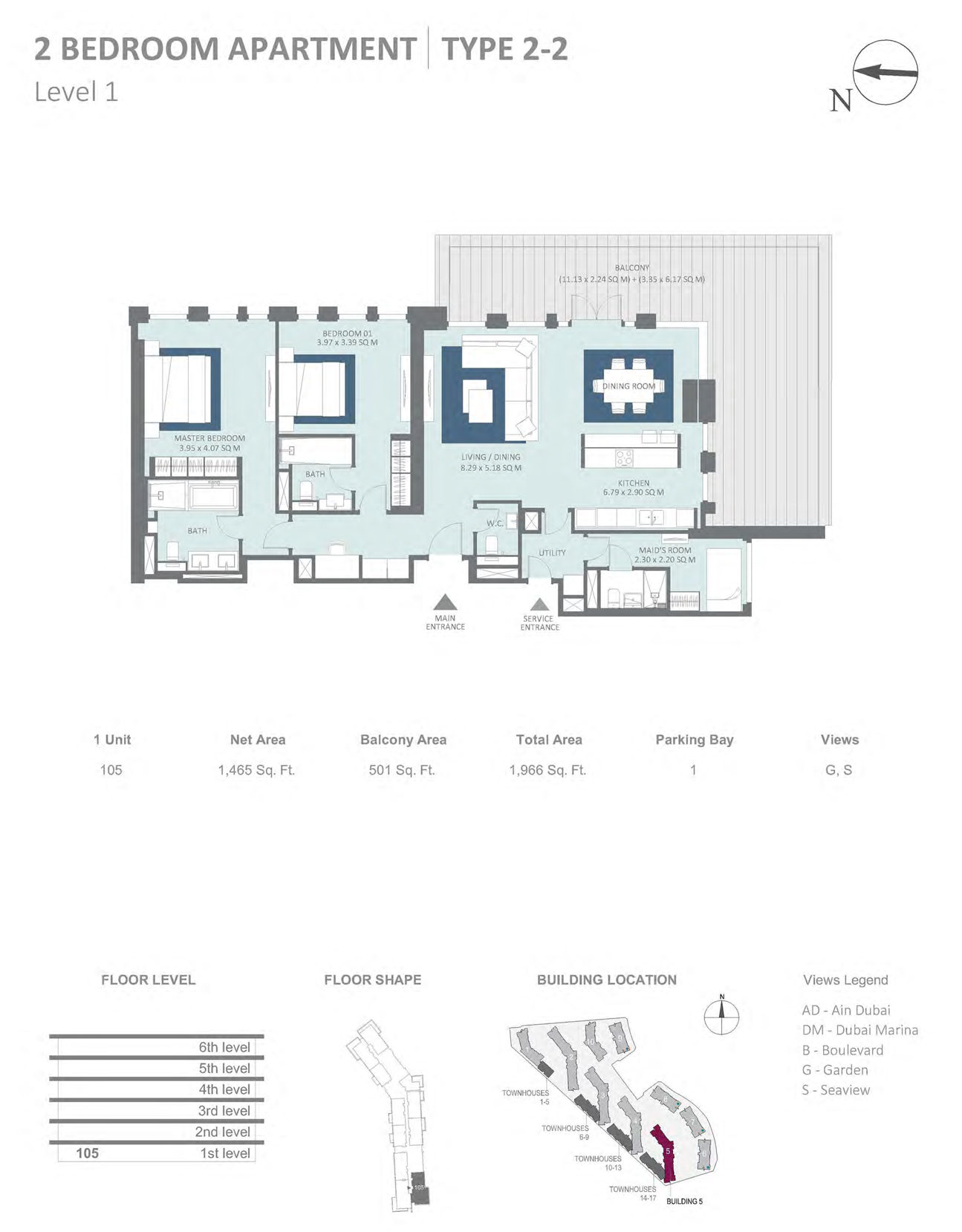 Building 5 - 2 Bedroom Type 2-2 Level 1 , Size 1465    sq. ft.