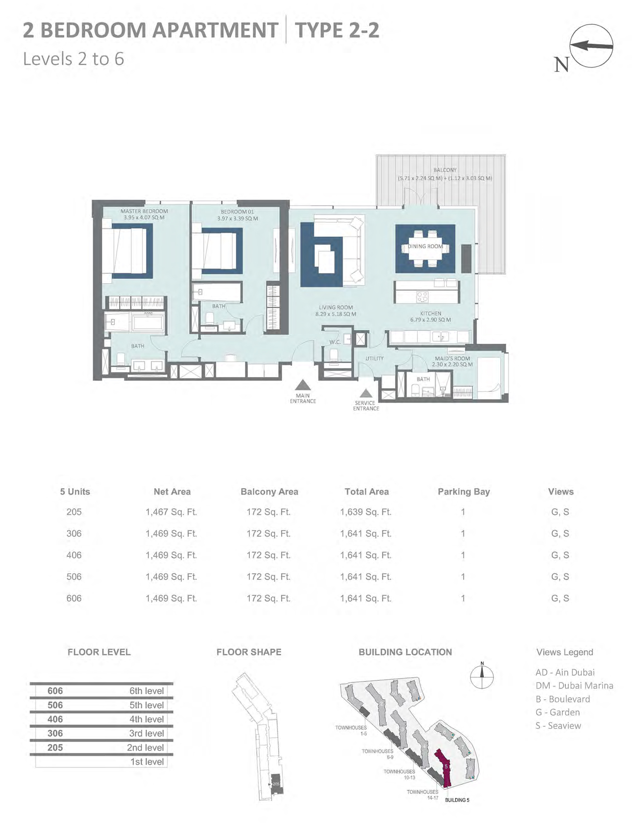 Building 5 - 2 Bedroom Type 2-2 Level 2-6 , Size 1641    sq. ft.