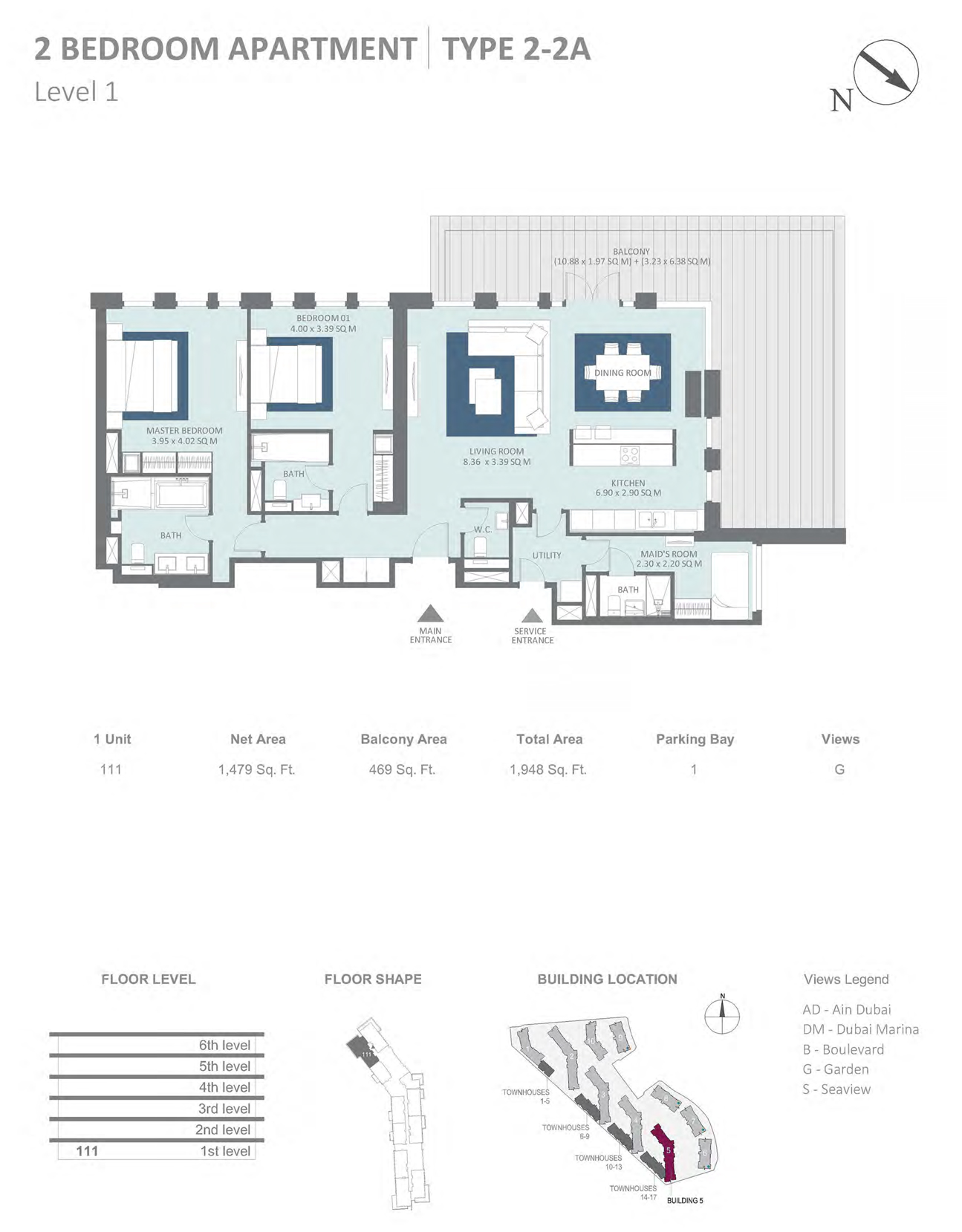 Building 5 - 2 Bedroom Type 2-2A Level 1 , Size 1479    sq. ft.