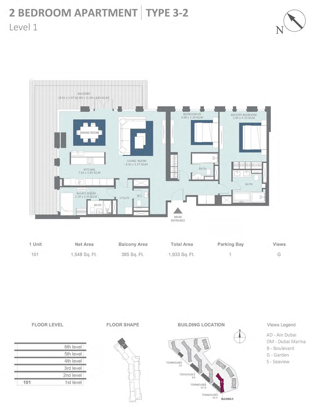 Building 5 - 2 Bedroom Type 3-2 Level 1 , Size 1548    sq. ft.