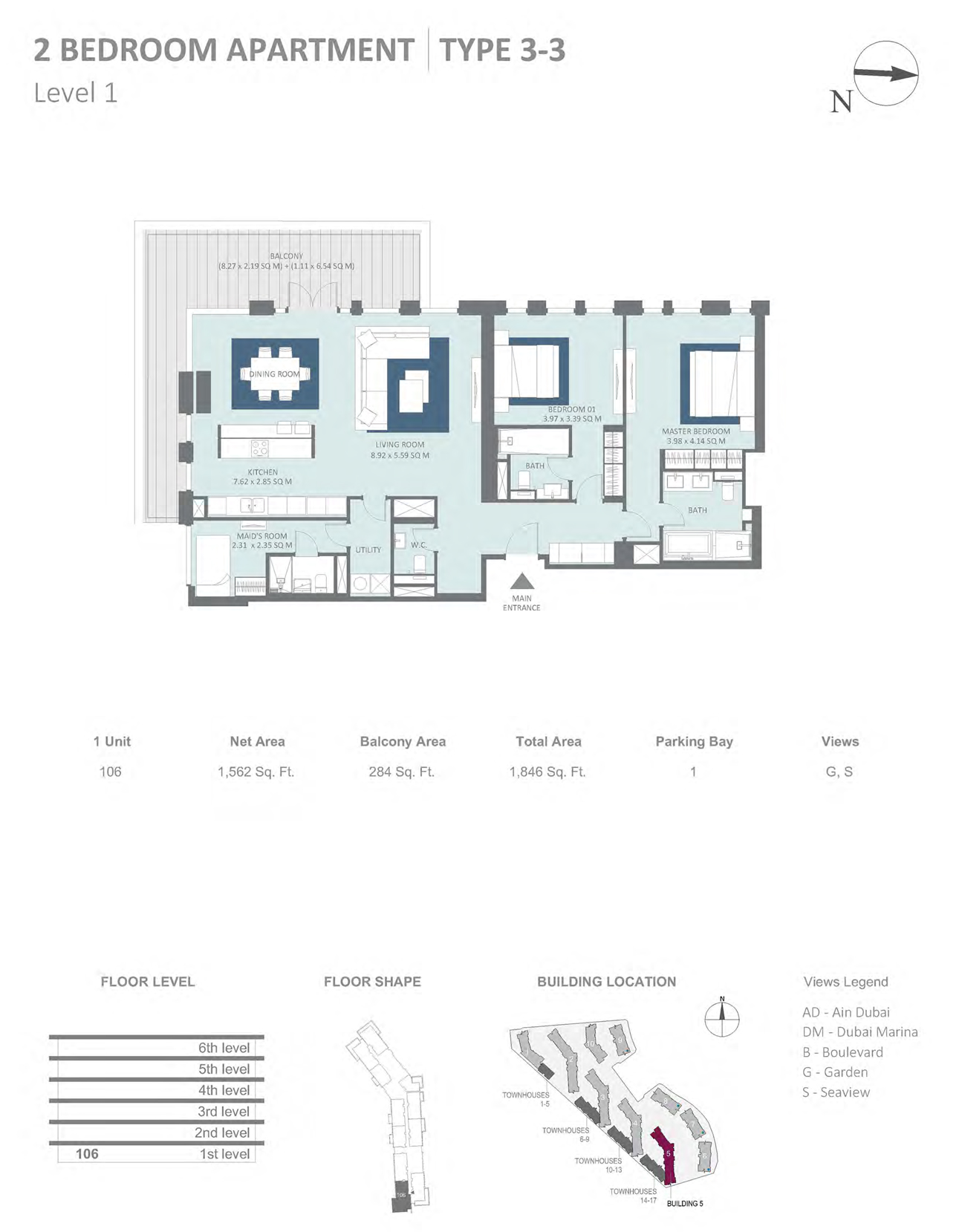 Building 5 - 2 Bedroom Type 3-3 Level 1 , Size 1562    sq. ft.