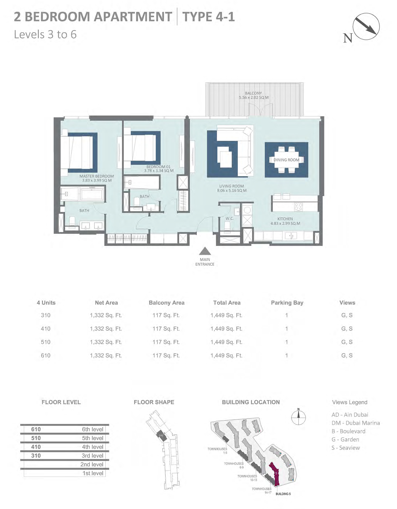 Building 5 - 2 Bedroom Type 4-1 Level 3-6 , Size 1449    sq. ft.